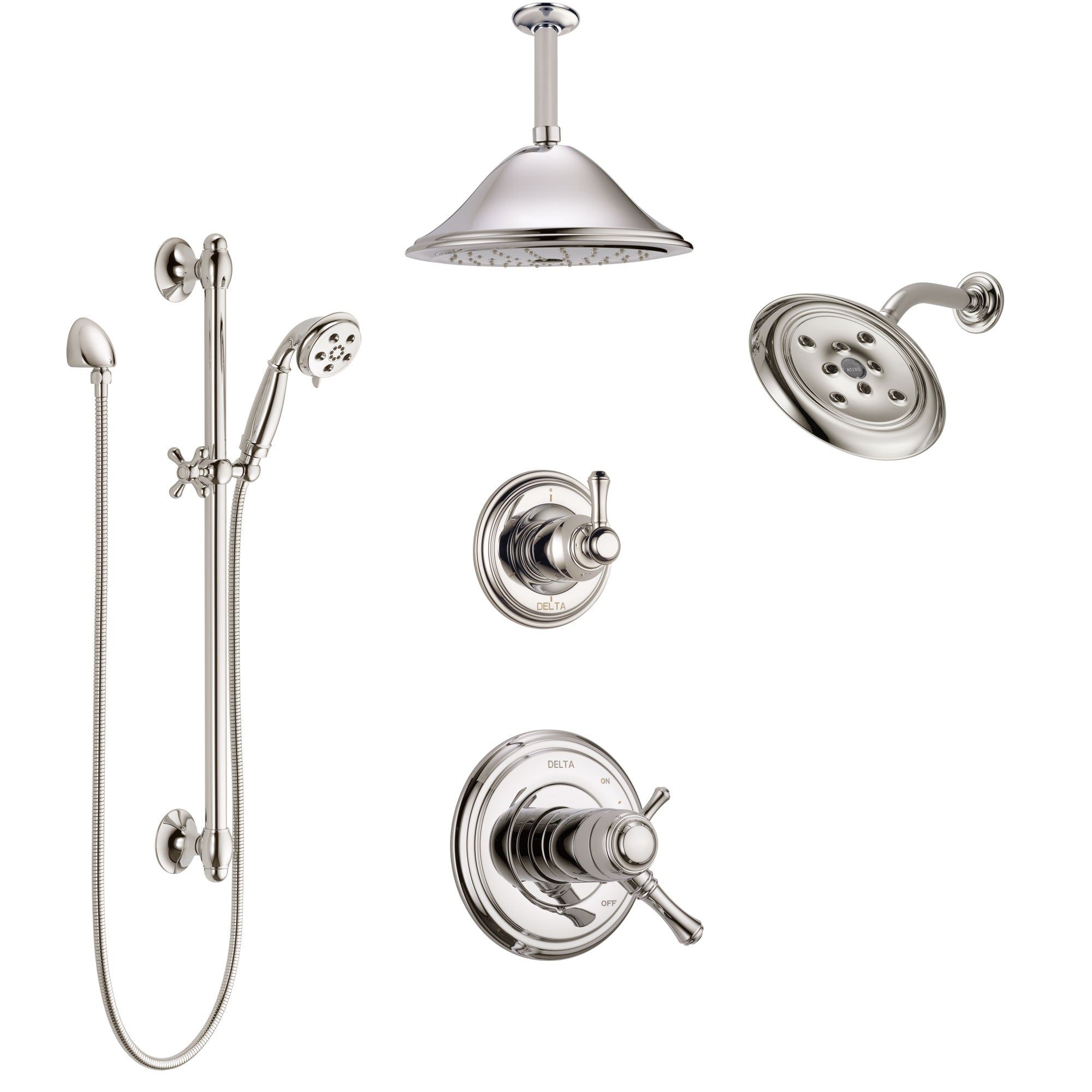 Delta Cassidy Polished Nickel Shower System with Dual Thermostatic Control, Diverter, Showerhead, Ceiling Showerhead, and Hand Shower SS17T971PN6