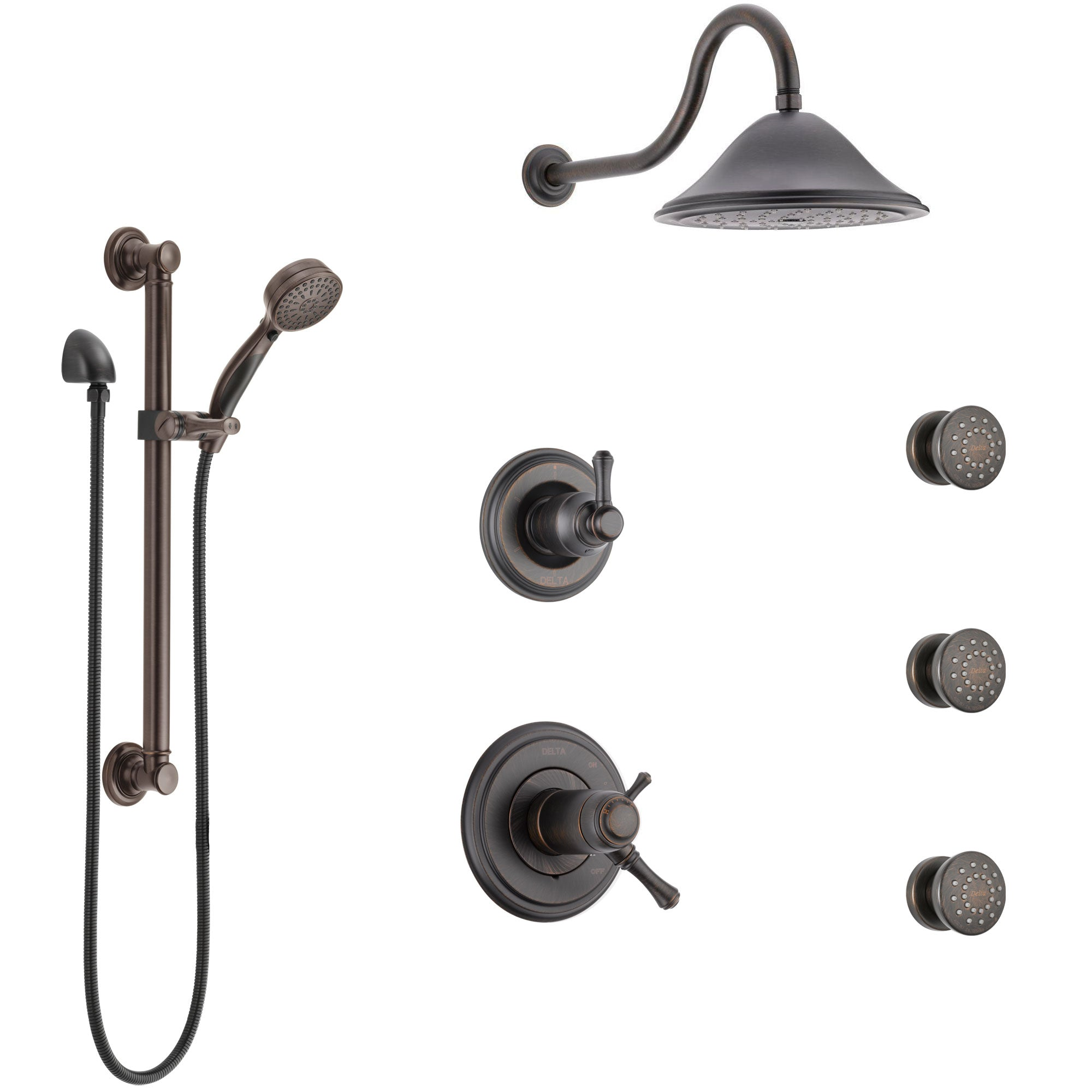 Delta Cassidy Venetian Bronze Shower System with Dual Thermostatic Control, Diverter, Showerhead, 3 Body Sprays, and Grab Bar Hand Shower SS17T971RB1