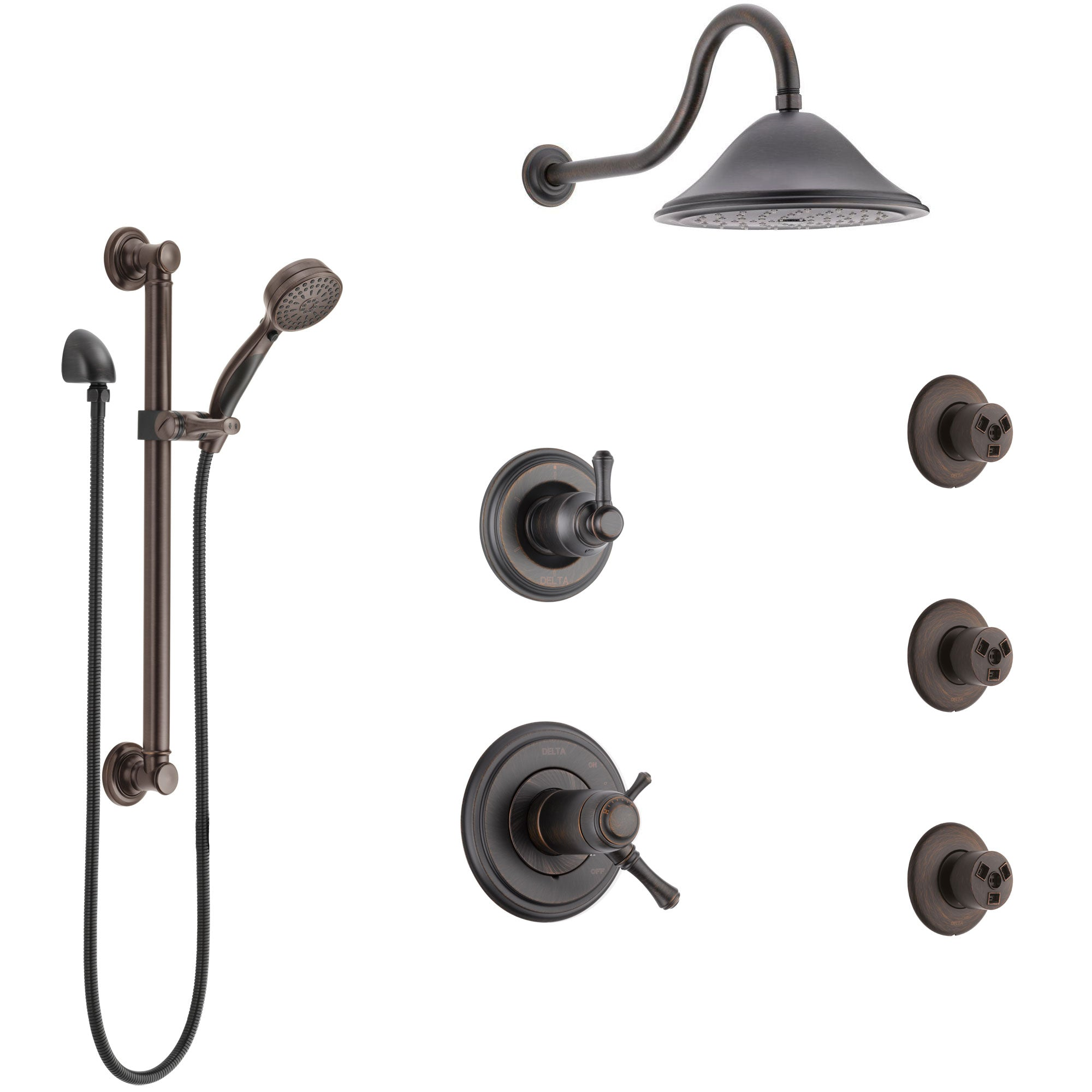 Delta Cassidy Venetian Bronze Shower System with Dual Thermostatic Control, Diverter, Showerhead, 3 Body Sprays, and Grab Bar Hand Shower SS17T971RB2