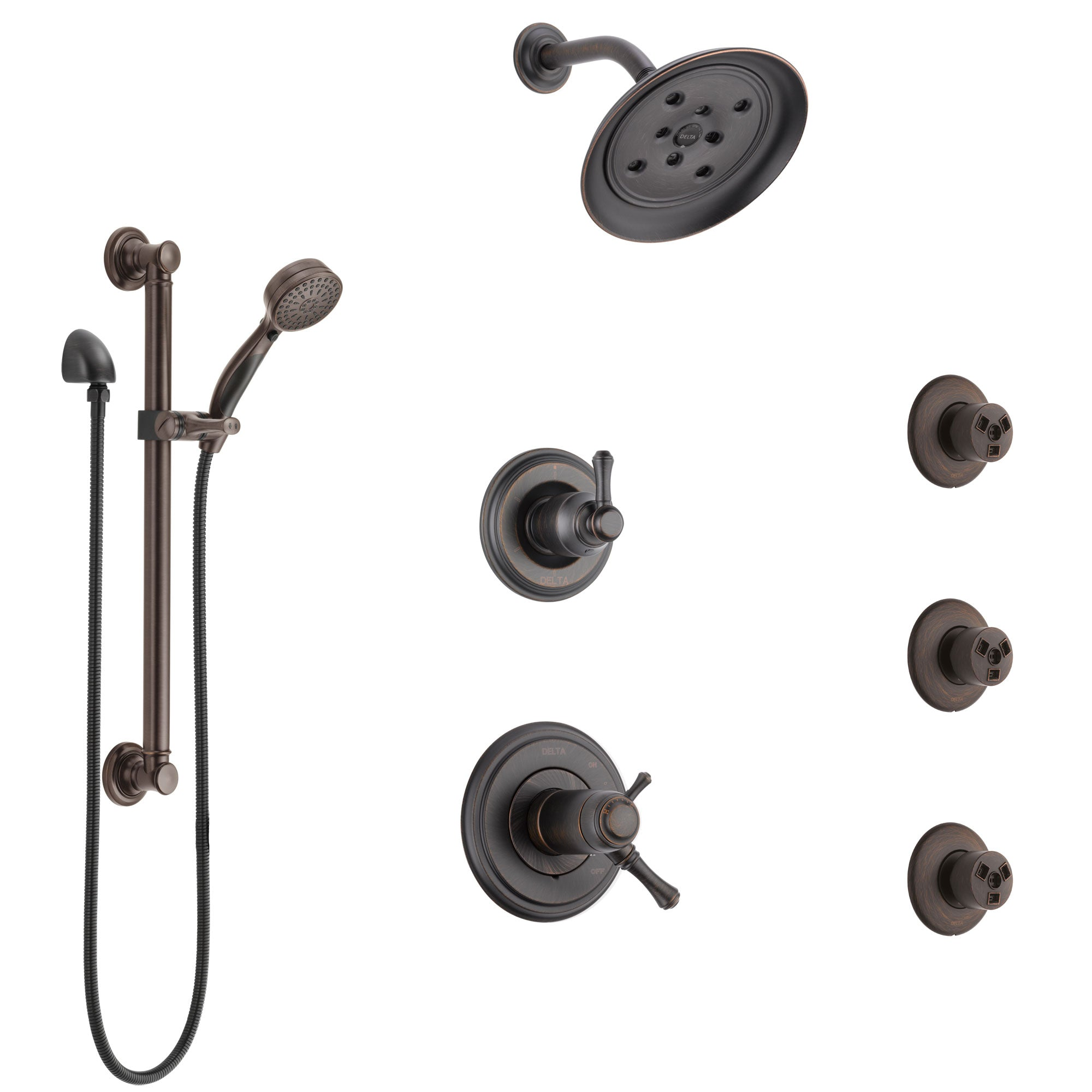 Delta Cassidy Venetian Bronze Shower System with Dual Thermostatic Control, Diverter, Showerhead, 3 Body Sprays, and Grab Bar Hand Shower SS17T971RB3