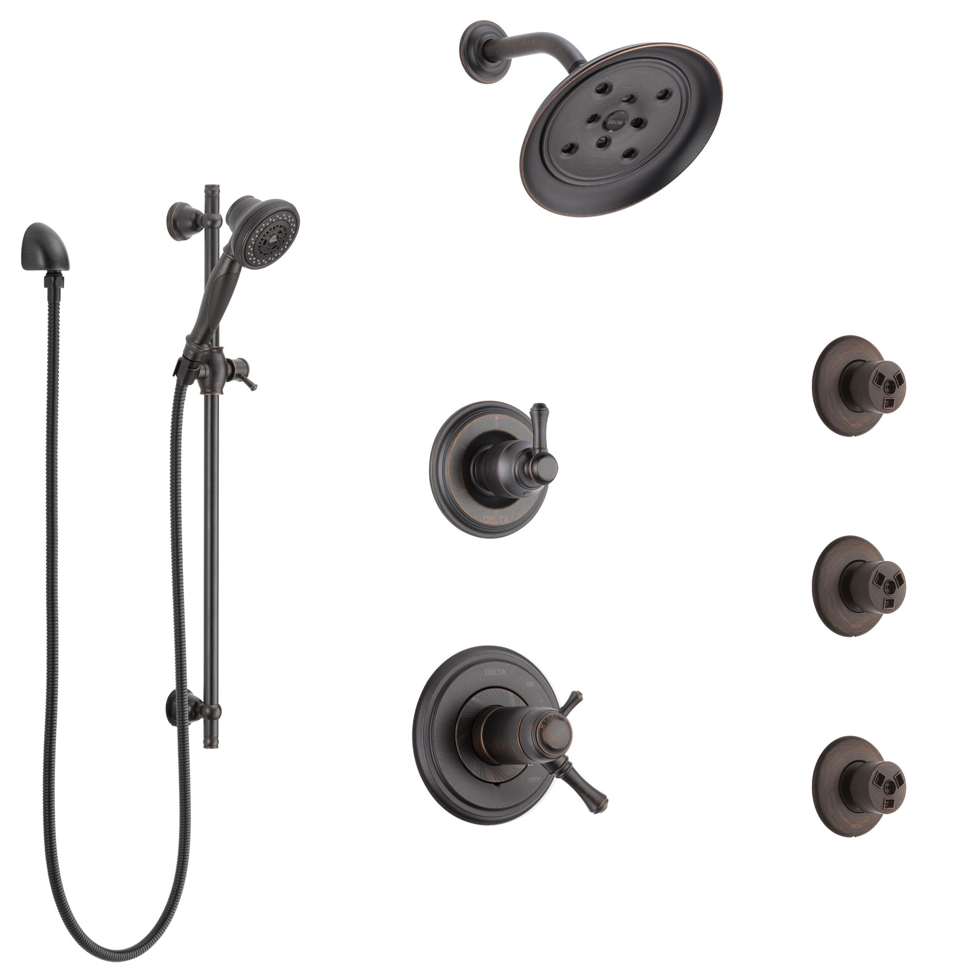 Delta Cassidy Venetian Bronze Shower System with Dual Thermostatic Control, 6-Setting Diverter, Showerhead, 3 Body Sprays, and Hand Shower SS17T971RB4