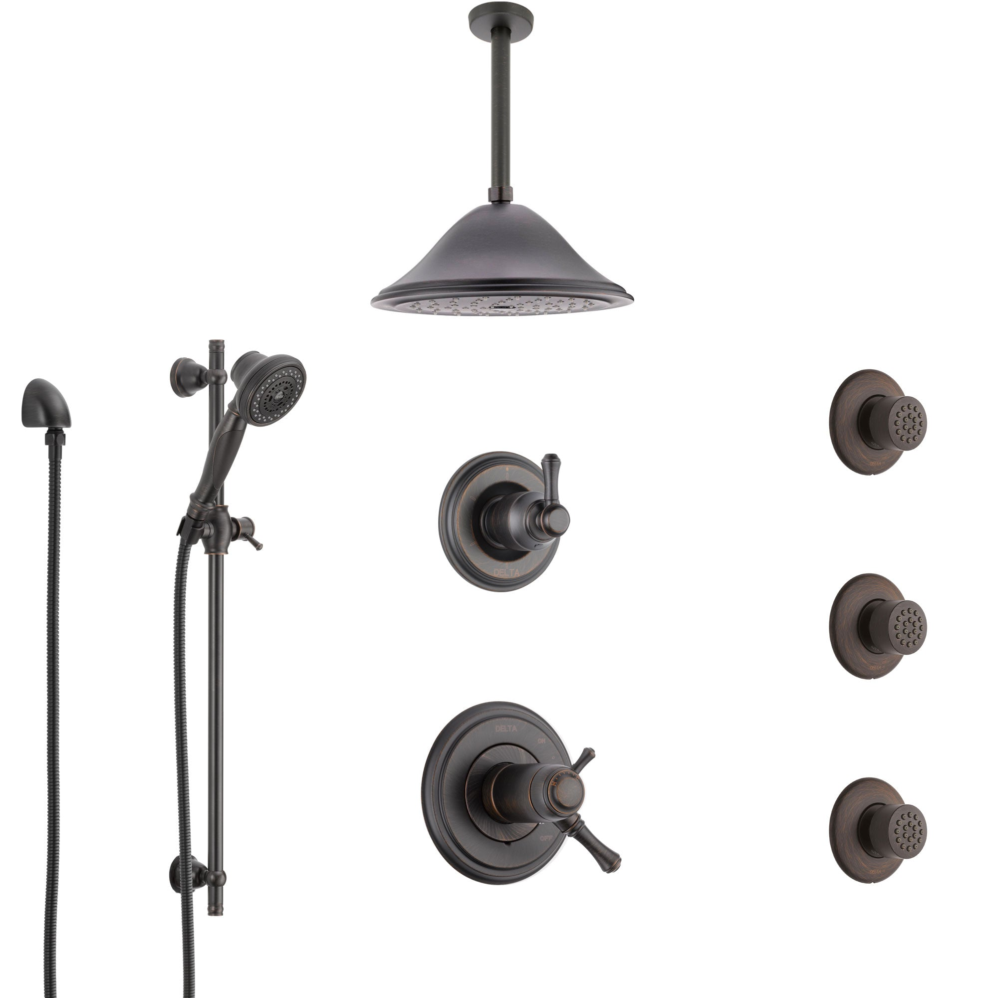 Delta Cassidy Venetian Bronze Shower System with Dual Thermostatic Control, Diverter, Ceiling Showerhead, 3 Body Sprays, and Hand Shower SS17T971RB5