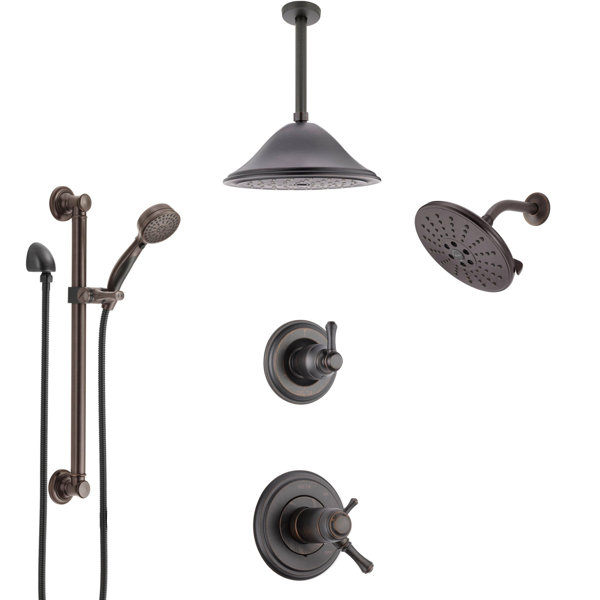 Delta Cassidy Venetian Bronze Dual Thermostatic Control Shower System, Diverter, Showerhead, Ceiling Showerhead, and Grab Bar Hand Spray SS17T971RB8