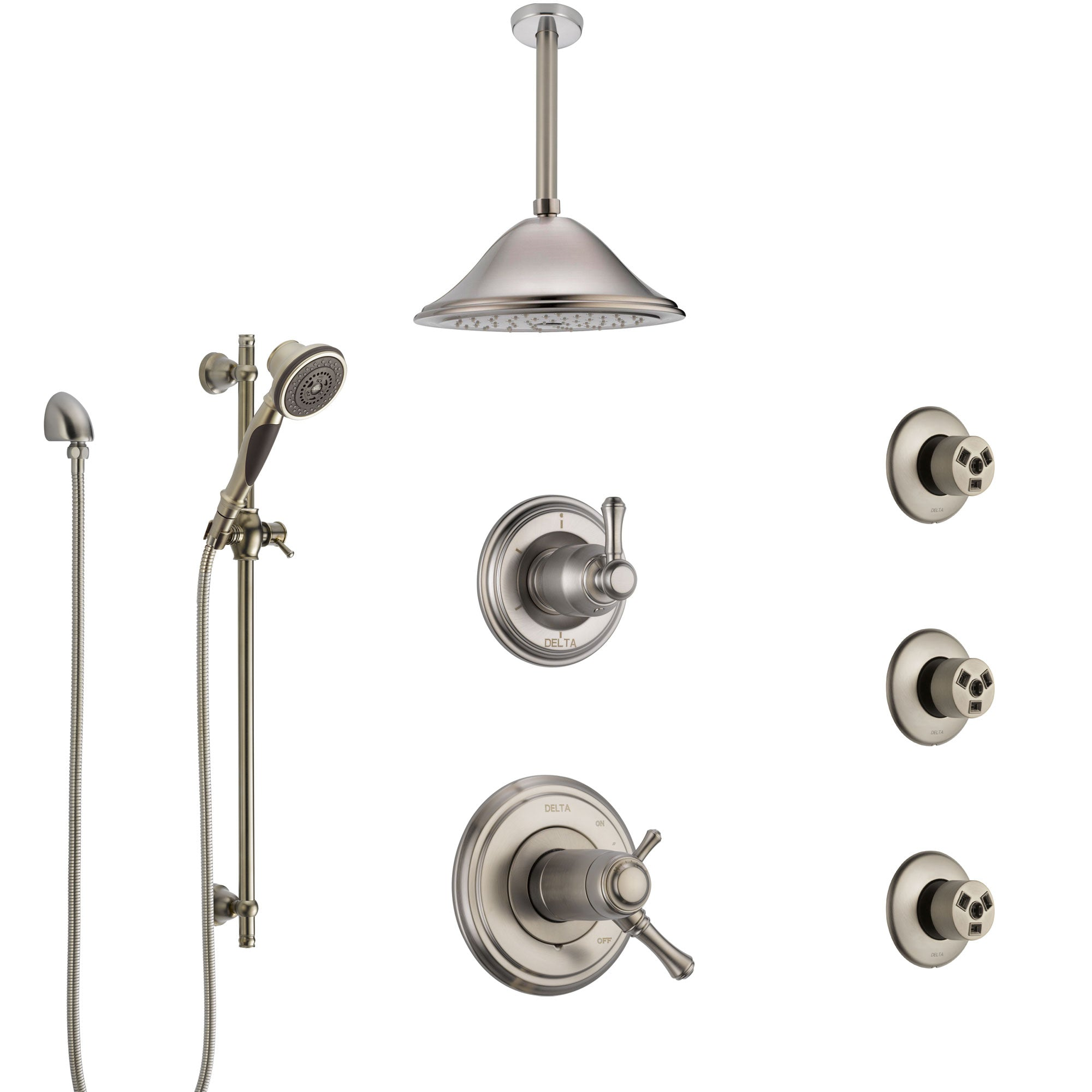 Delta Cassidy Dual Thermostatic Control Stainless Steel Finish Shower System, Diverter, Ceiling Showerhead, 3 Body Sprays, and Hand Shower SS17T971SS4