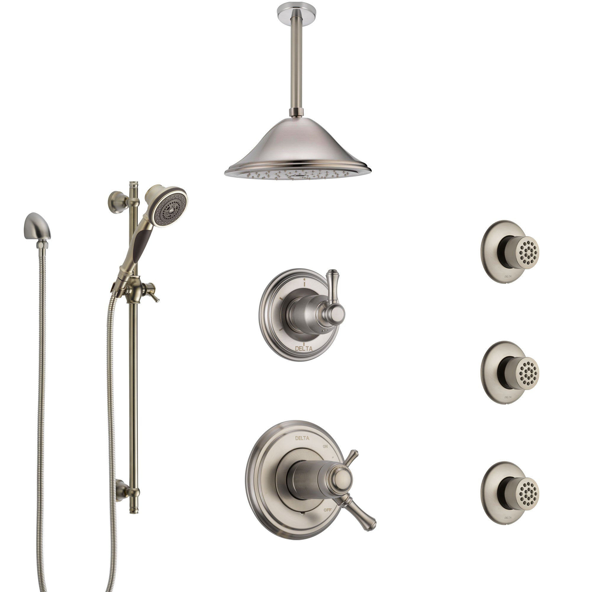 Delta Cassidy Dual Thermostatic Control Stainless Steel Finish Shower System, Diverter, Ceiling Showerhead, 3 Body Sprays, and Hand Shower SS17T971SS5