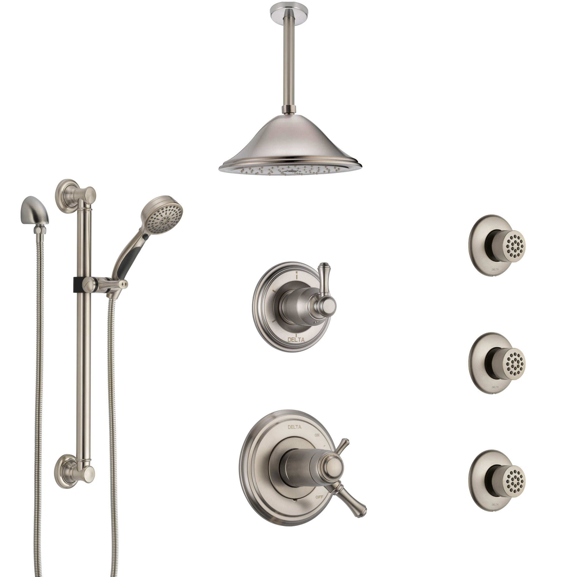 Delta Cassidy Dual Thermostatic Control Stainless Steel Finish Shower System with Ceiling Showerhead, 3 Body Jets, Grab Bar Hand Spray SS17T971SS6