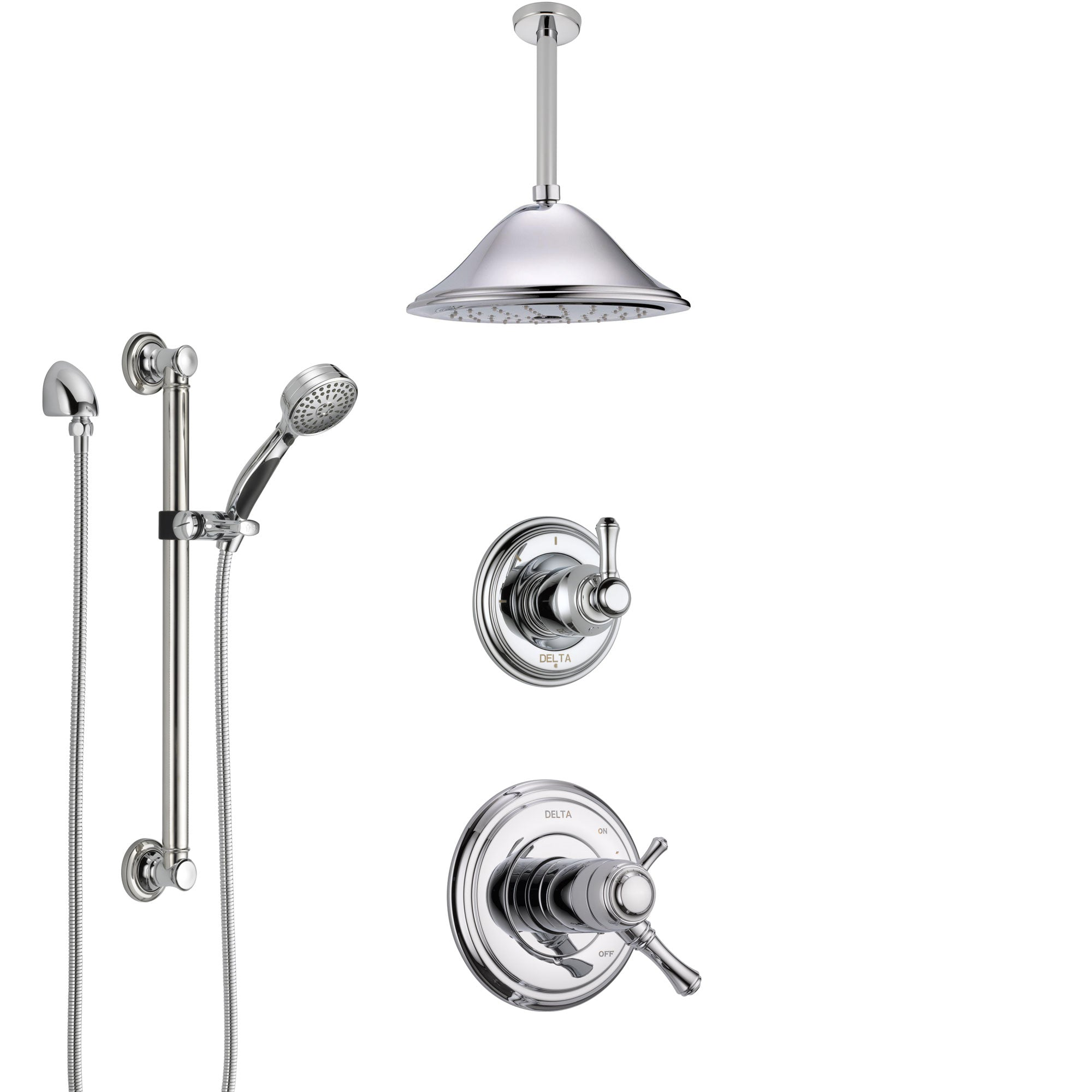 Delta Cassidy Chrome Shower System with Dual Thermostatic Control Handle, Diverter, Ceiling Mount Showerhead, and Hand Shower with Grab Bar SS17T9723