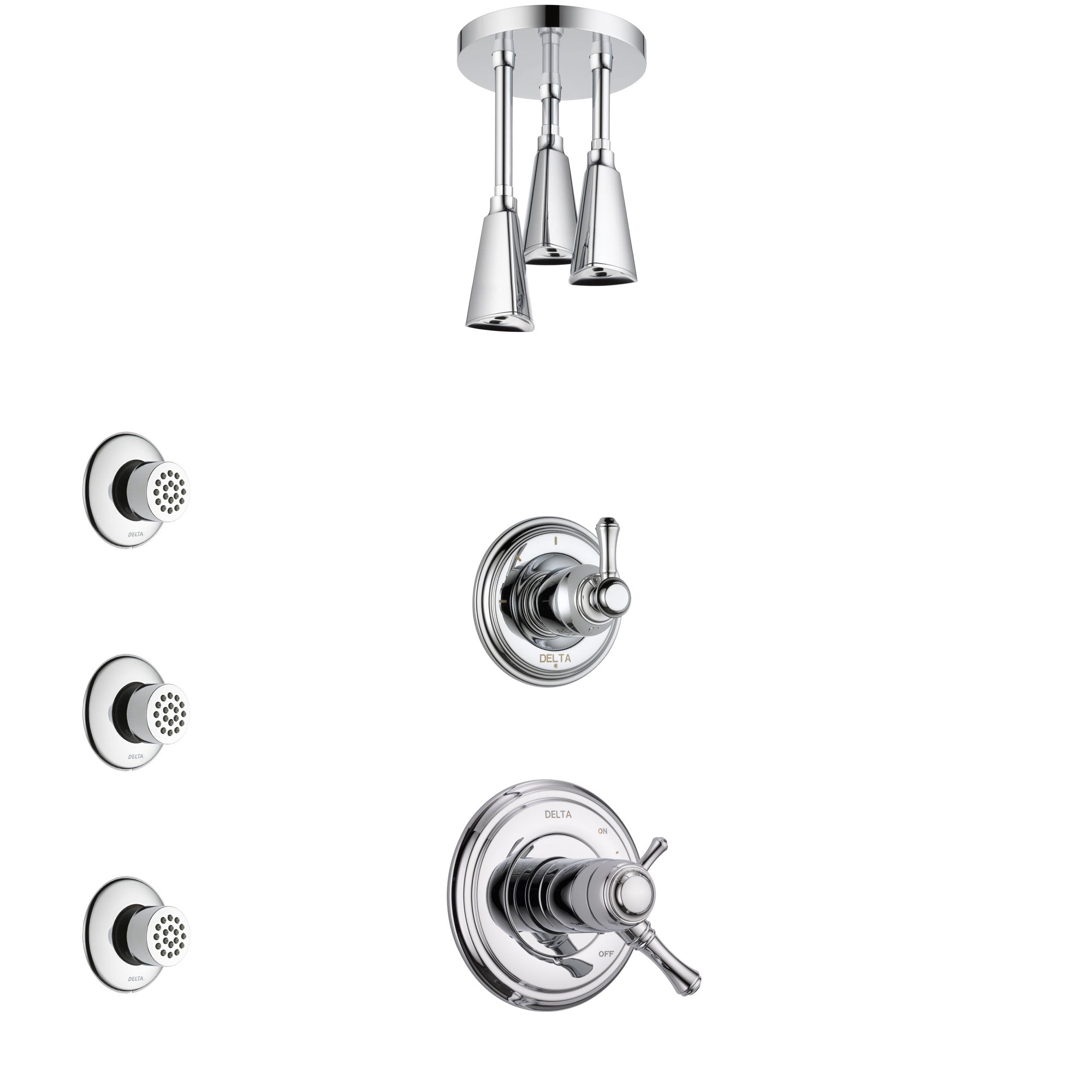 Delta Cassidy Chrome Finish Shower System with Dual Thermostatic Control Handle, Diverter, Ceiling Mount Showerhead, and 3 Body Sprays SS17T9726