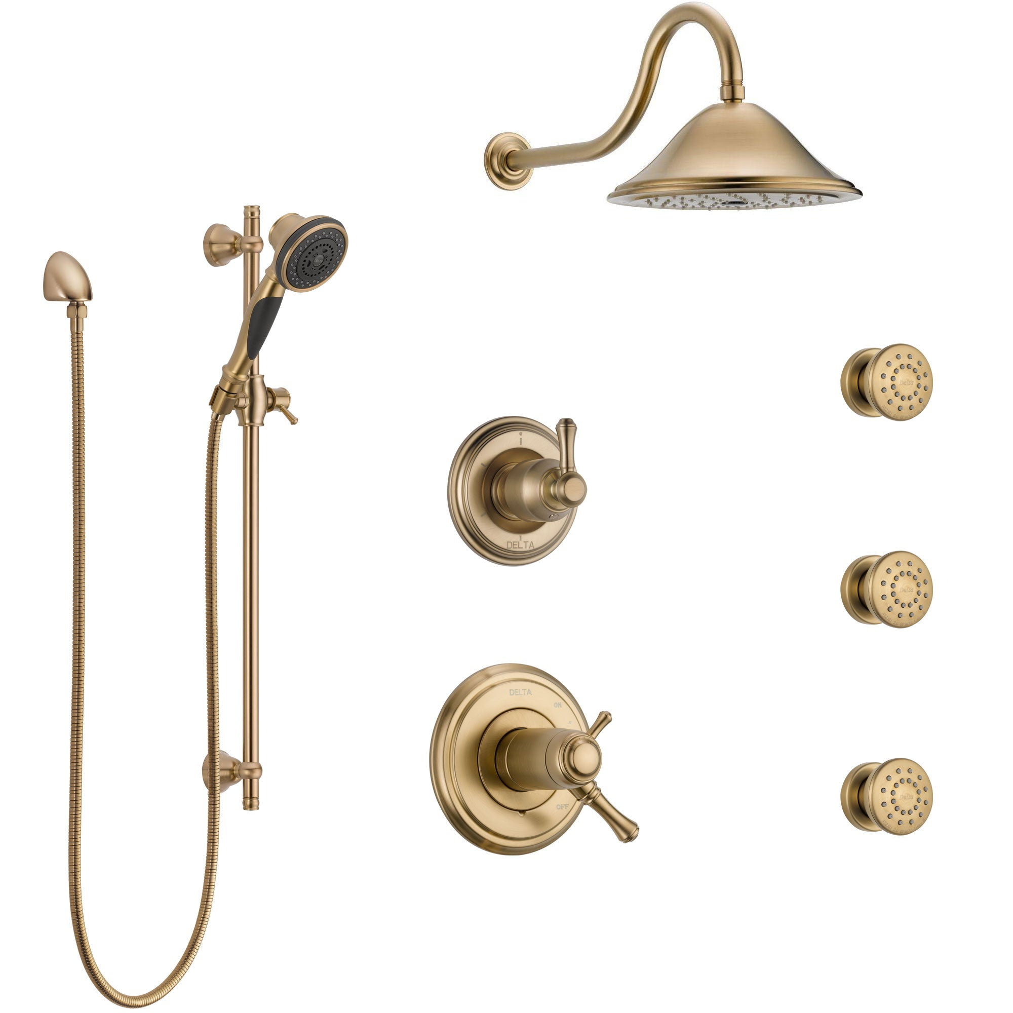 Delta Cassidy Champagne Bronze Shower System with Dual Thermostatic Control, Diverter, Showerhead, 3 Body Sprays, and Hand Shower SS17T972CZ1
