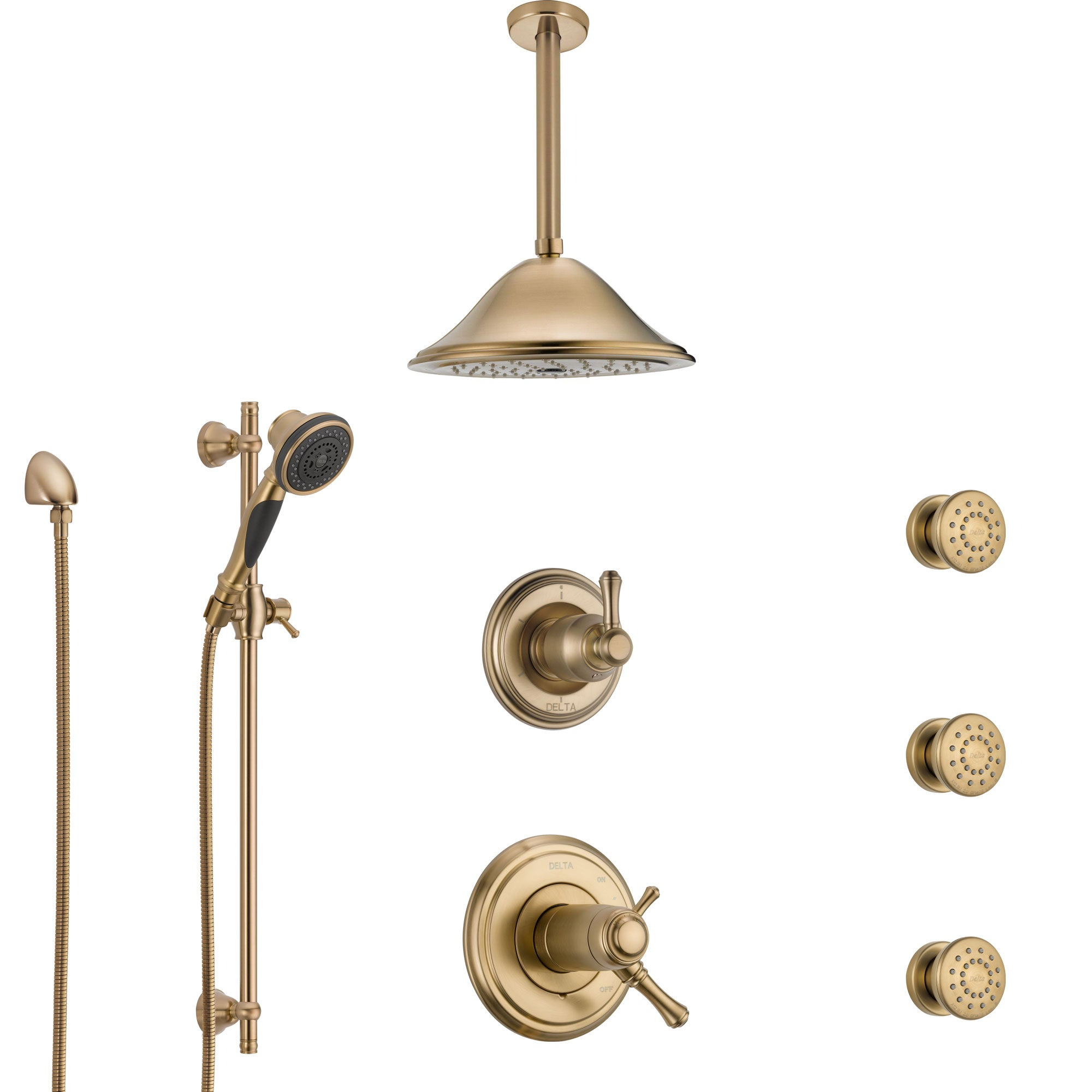 Delta Cassidy Champagne Bronze Shower System with Dual Thermostatic Control, Diverter, Ceiling Showerhead, 3 Body Sprays, and Hand Shower SS17T972CZ4