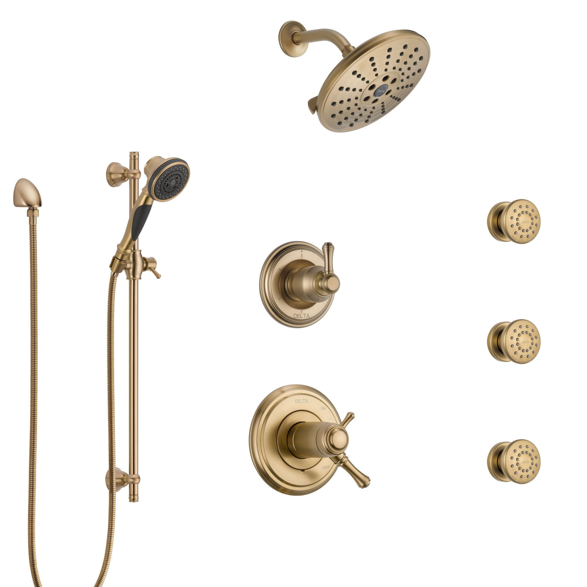 Delta Cassidy Champagne Bronze Shower System with Dual Thermostatic Control, Diverter, Showerhead, 3 Body Sprays, and Hand Shower SS17T972CZ5