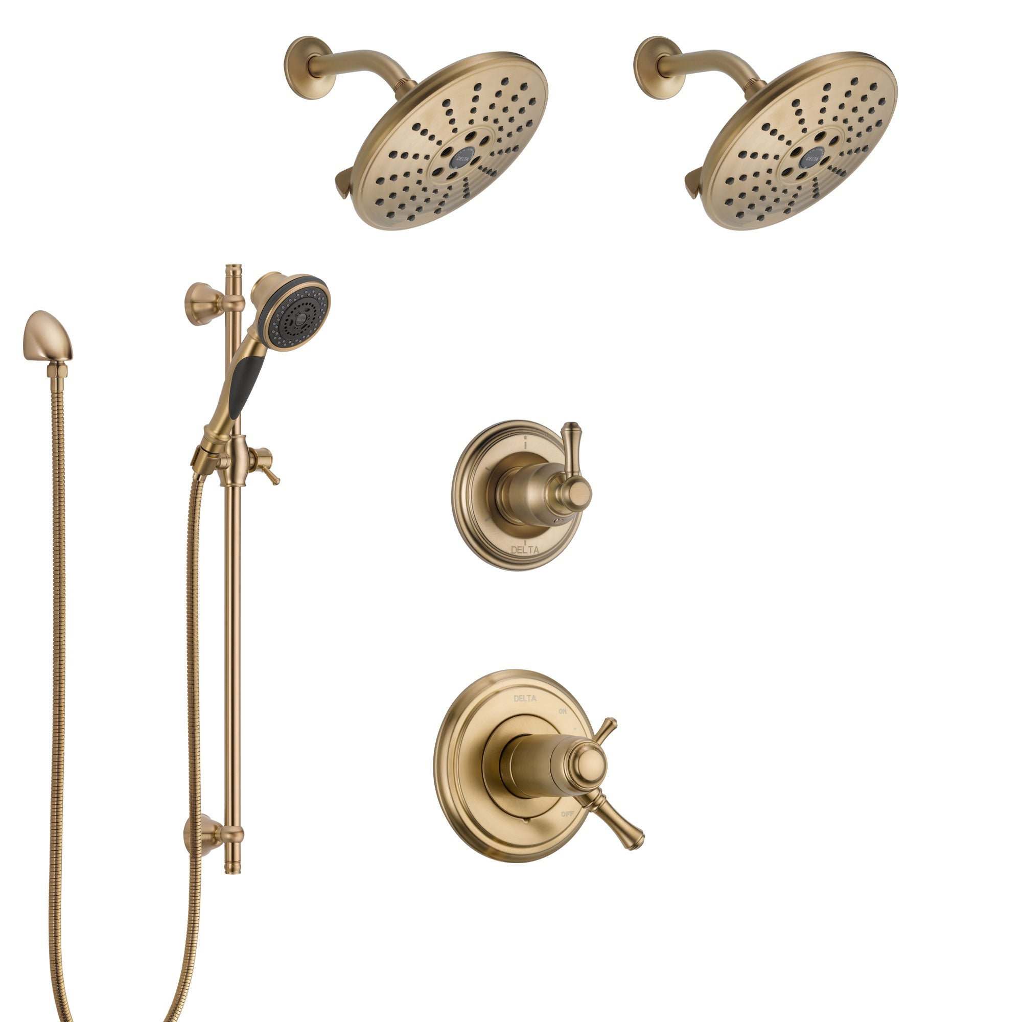 Delta Cassidy Champagne Bronze Shower System with Dual Thermostatic Control Handle, 6-Setting Diverter, 2 Showerheads, Hand Shower SS17T972CZ6