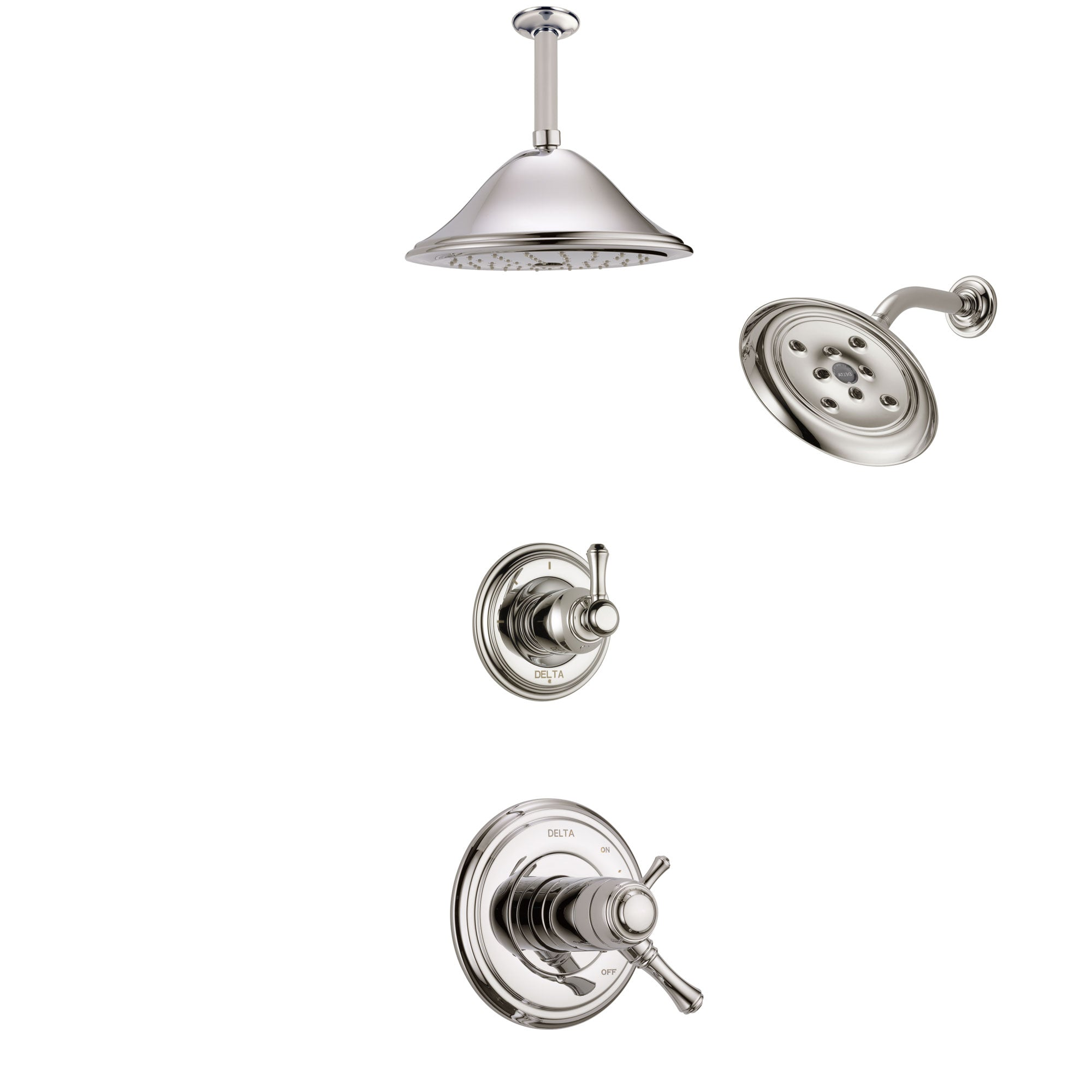 Delta Cassidy Polished Nickel Shower System with Dual Thermostatic Control Handle, Diverter, Showerhead, and Ceiling Mount Showerhead SS17T972PN7