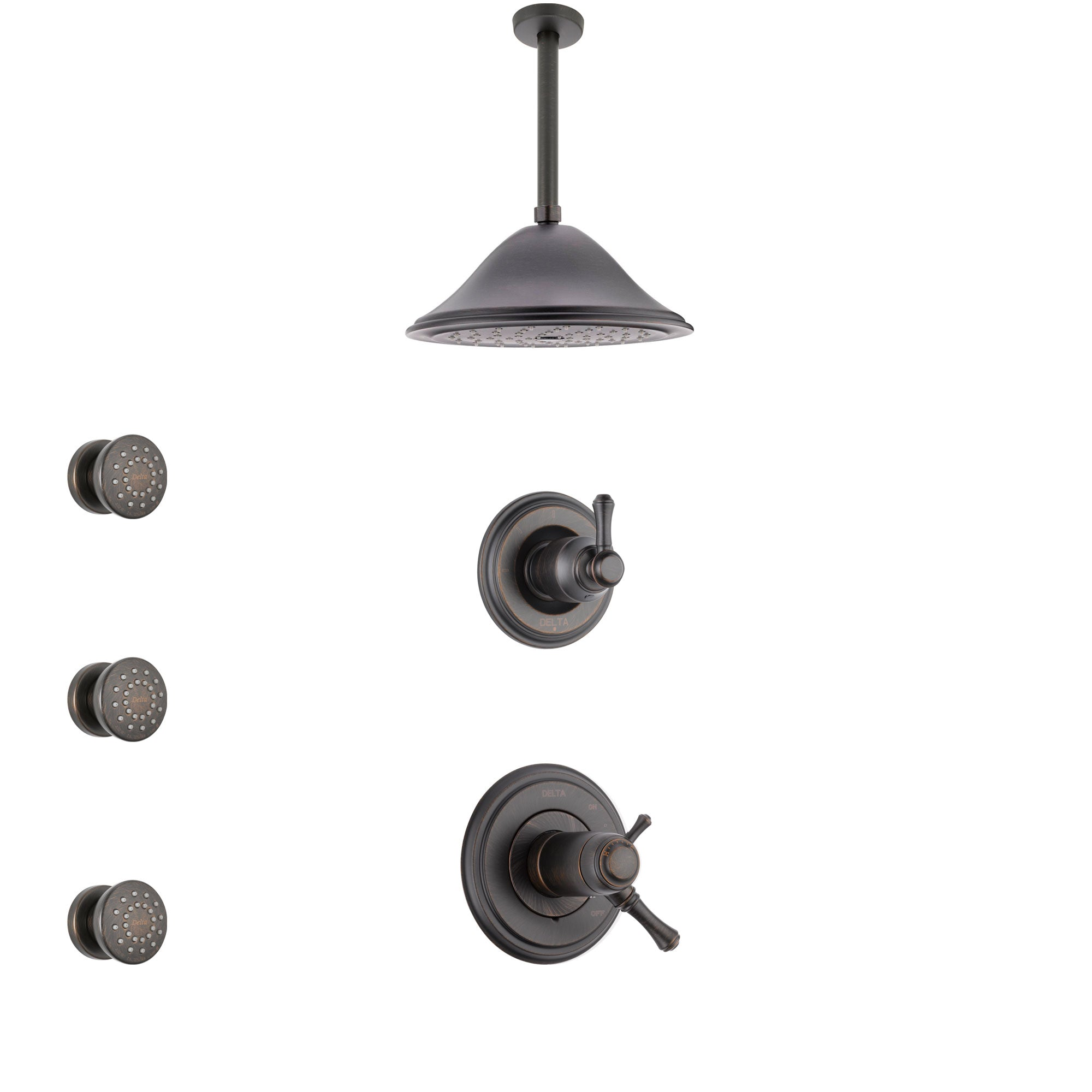 Delta Cassidy Venetian Bronze Shower System with Dual Thermostatic Control Handle, Diverter, Ceiling Mount Showerhead, and 3 Body Sprays SS17T972RB2
