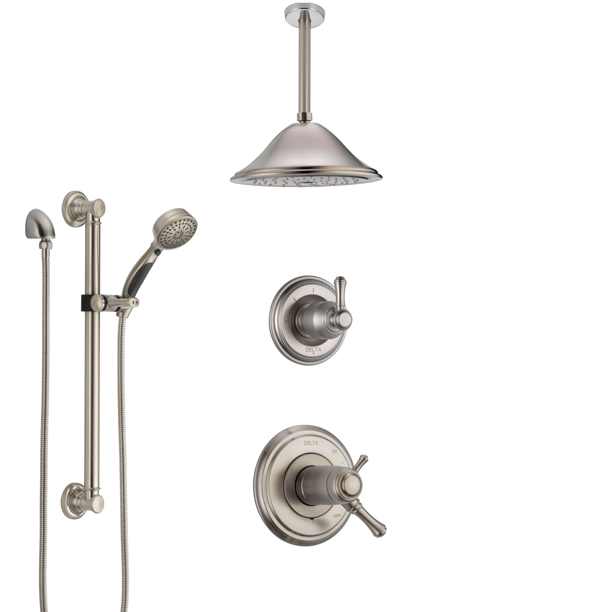 Delta Cassidy Dual Thermostatic Control Stainless Steel Finish Shower System, Diverter, Ceiling Mount Showerhead, and Grab Bar Hand Shower SS17T972SS1