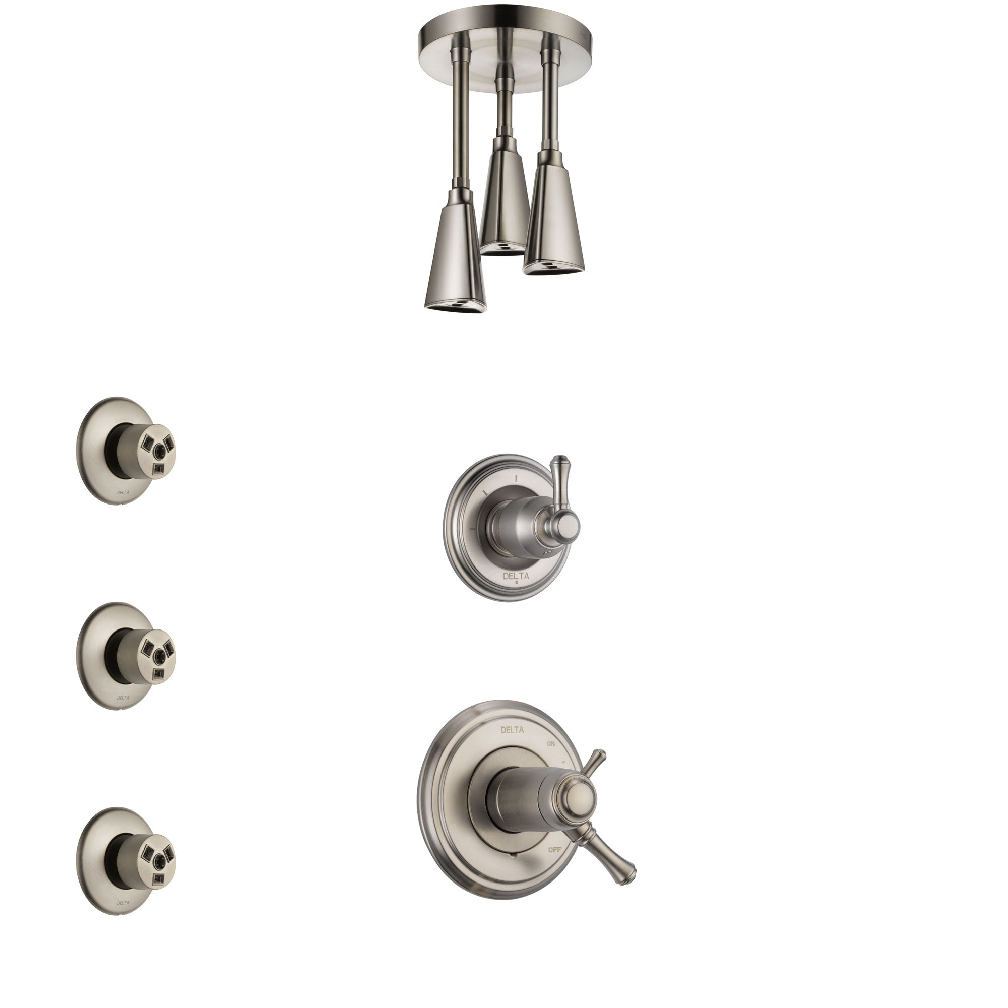 Delta Cassidy Dual Thermostatic Control Handle Stainless Steel Finish Shower System, Diverter, Ceiling Mount Showerhead, and 3 Body Sprays SS17T972SS4