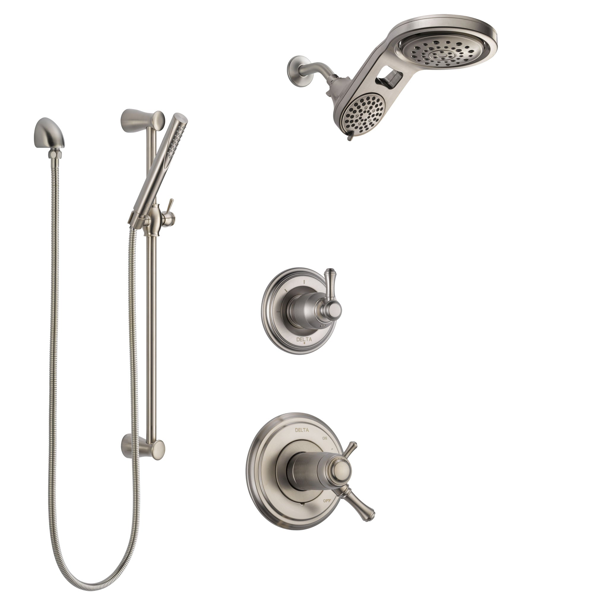 Delta Cassidy Dual Thermostatic Control Handle Stainless Steel Finish Shower System, Diverter, Dual Showerhead, and Hand Shower SS17T972SS8