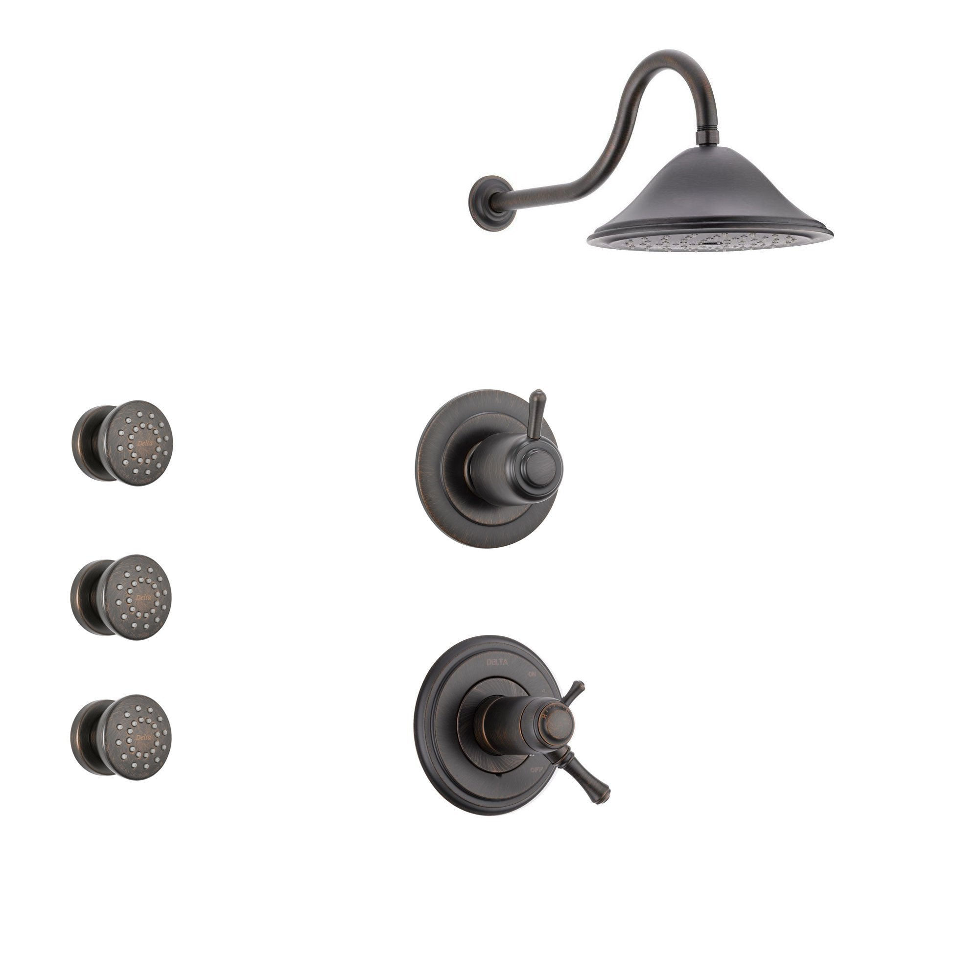 Delta Cassidy Venetian Bronze Shower System with Thermostatic Shower Handle, 3-setting Diverter, Large Rain Showerhead, and 3 Body Sprays SS17T9781RB