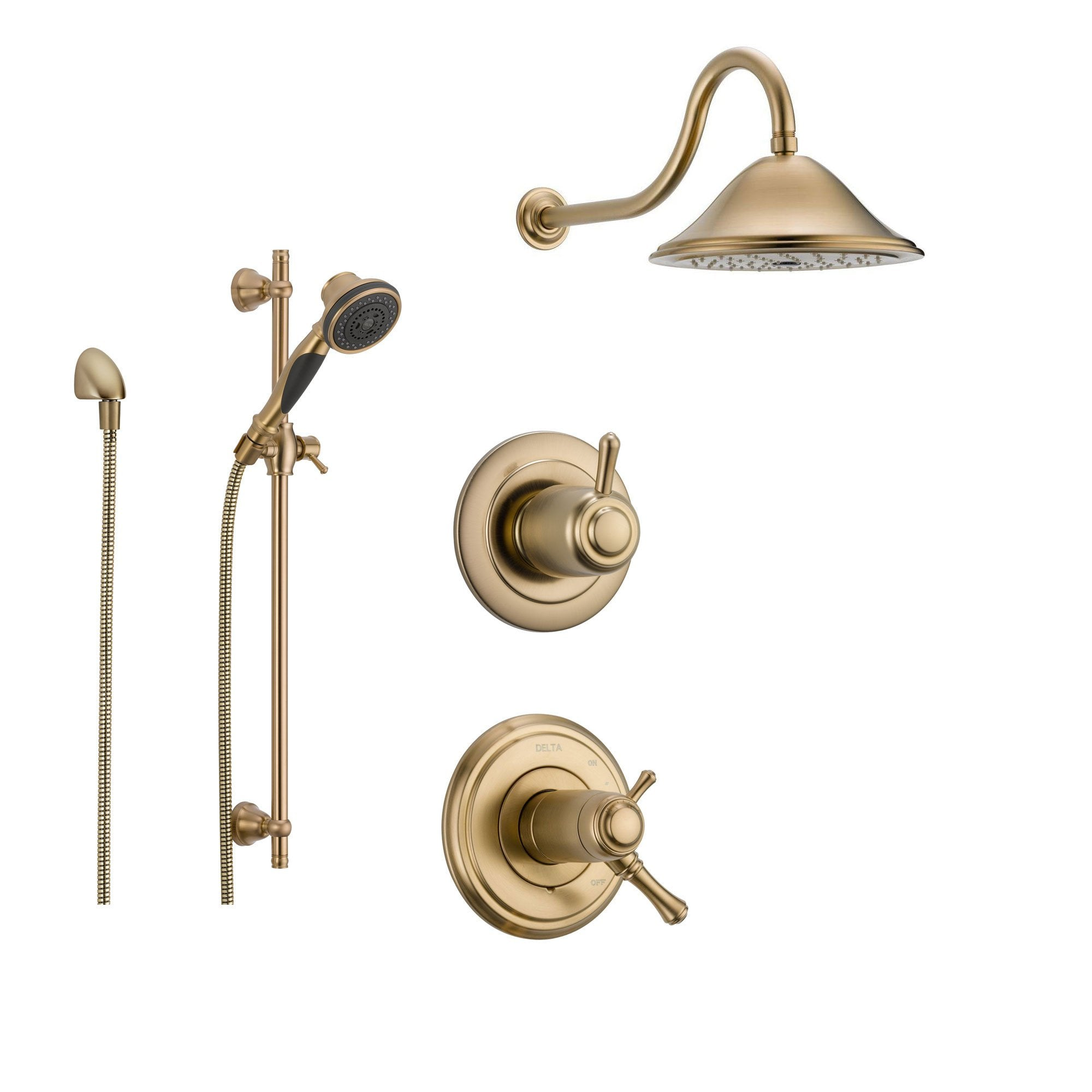Delta Cassidy Champagne Bronze Shower System with Thermostatic Shower Handle, 3-setting Diverter, Large Rain Shower Head, and Handheld Spray SS17T9782CZ
