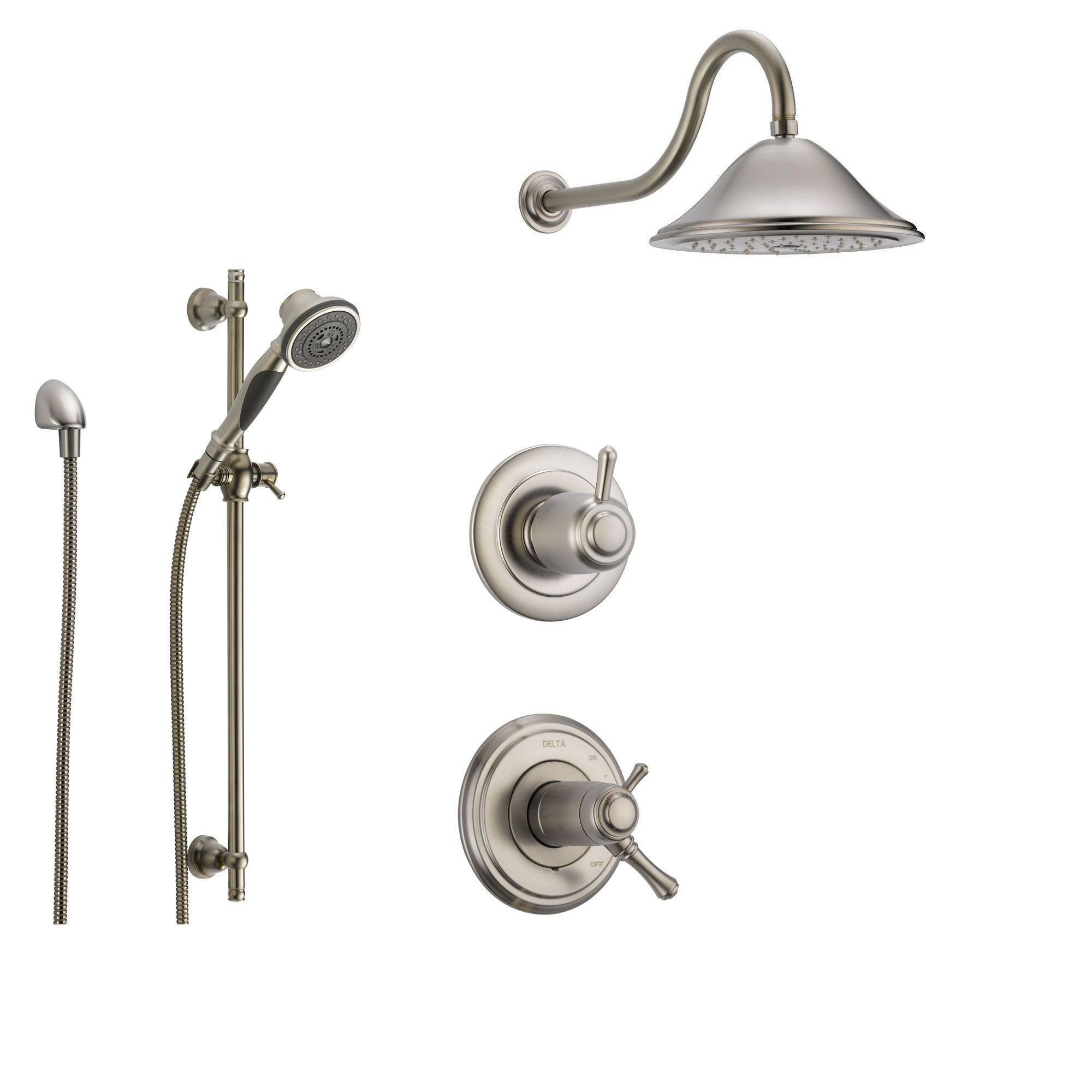 Delta Cassidy Stainless Steel Shower System With Thermostatic Shower Handle 3 Setting Diverter Large Rain Showerhead And Handheld Shower