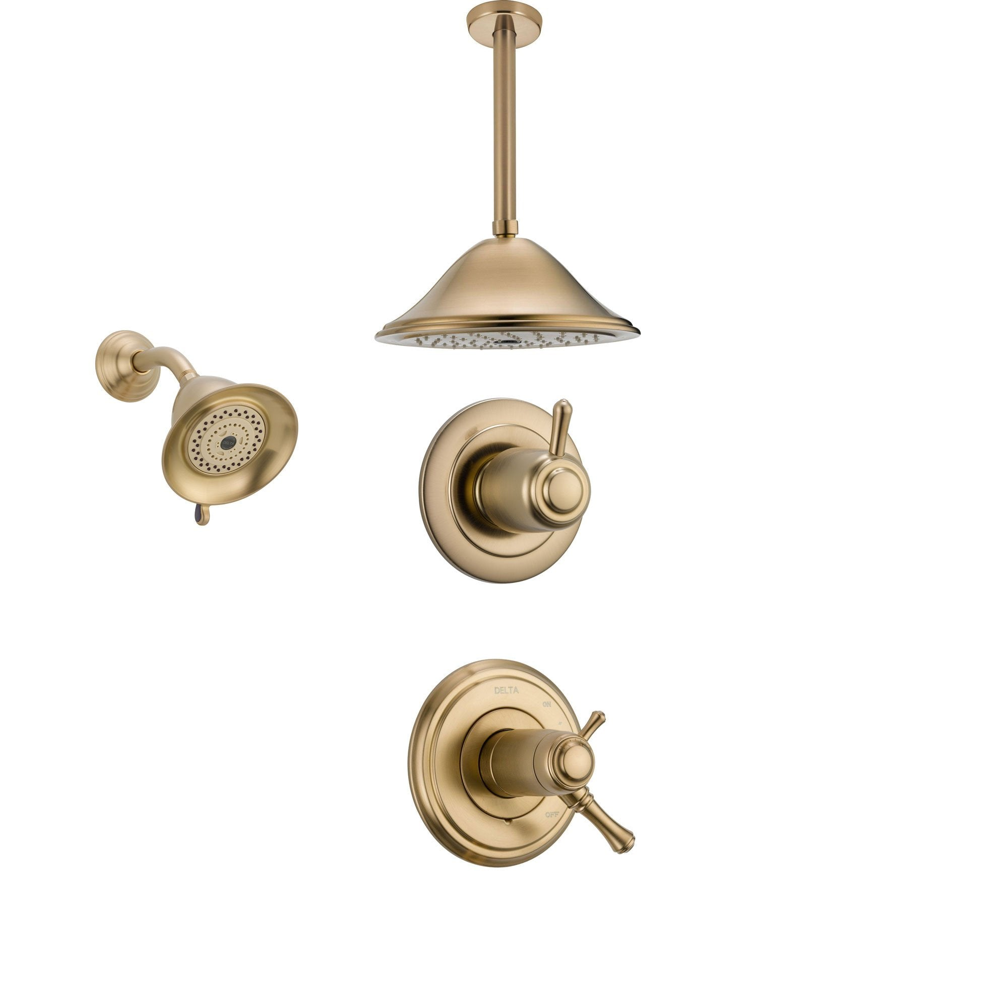 Delta Cassidy Champagne Bronze Shower System with Thermostatic Shower Handle, 3-setting Diverter, Large Ceiling Mount Rain Showerhead, and Wall Mount Showerhead SS17T9783CZ