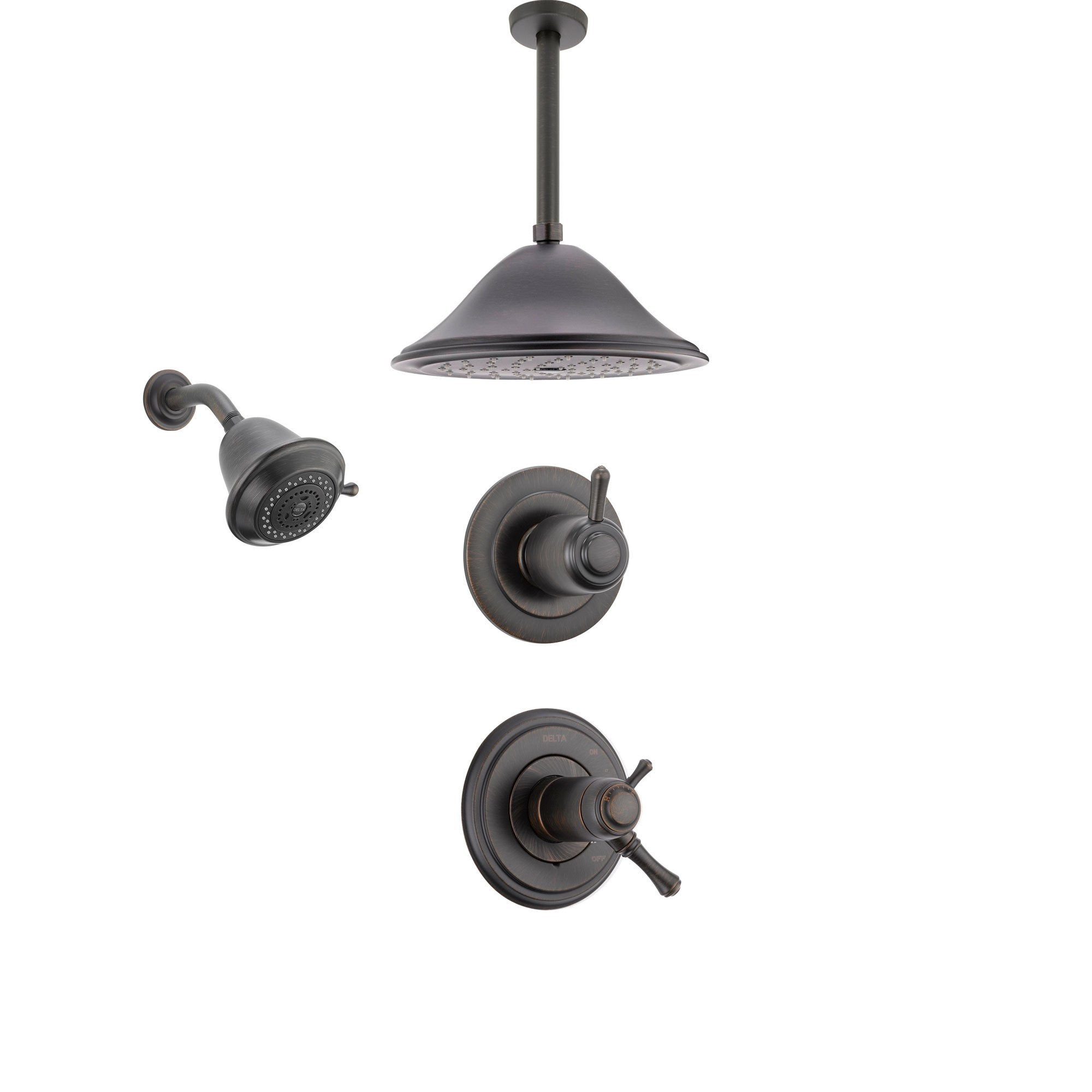 Delta Cassidy Venetian Bronze Shower System with Thermostatic Shower Handle, 3-setting Diverter, Large Rain Ceiling Mount Shower Head and Wall Mount Showerhead SS17T9783RB