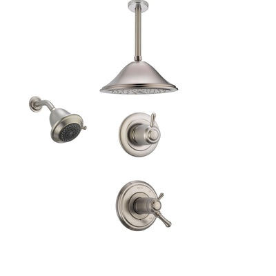 Delta Cassidy Stainless Steel Shower System with Thermostatic Shower Handle, 3-setting Diverter, Large Ceiling Mount Rain Showerhead, and Wall Mount Showerhead SS17T9783SS