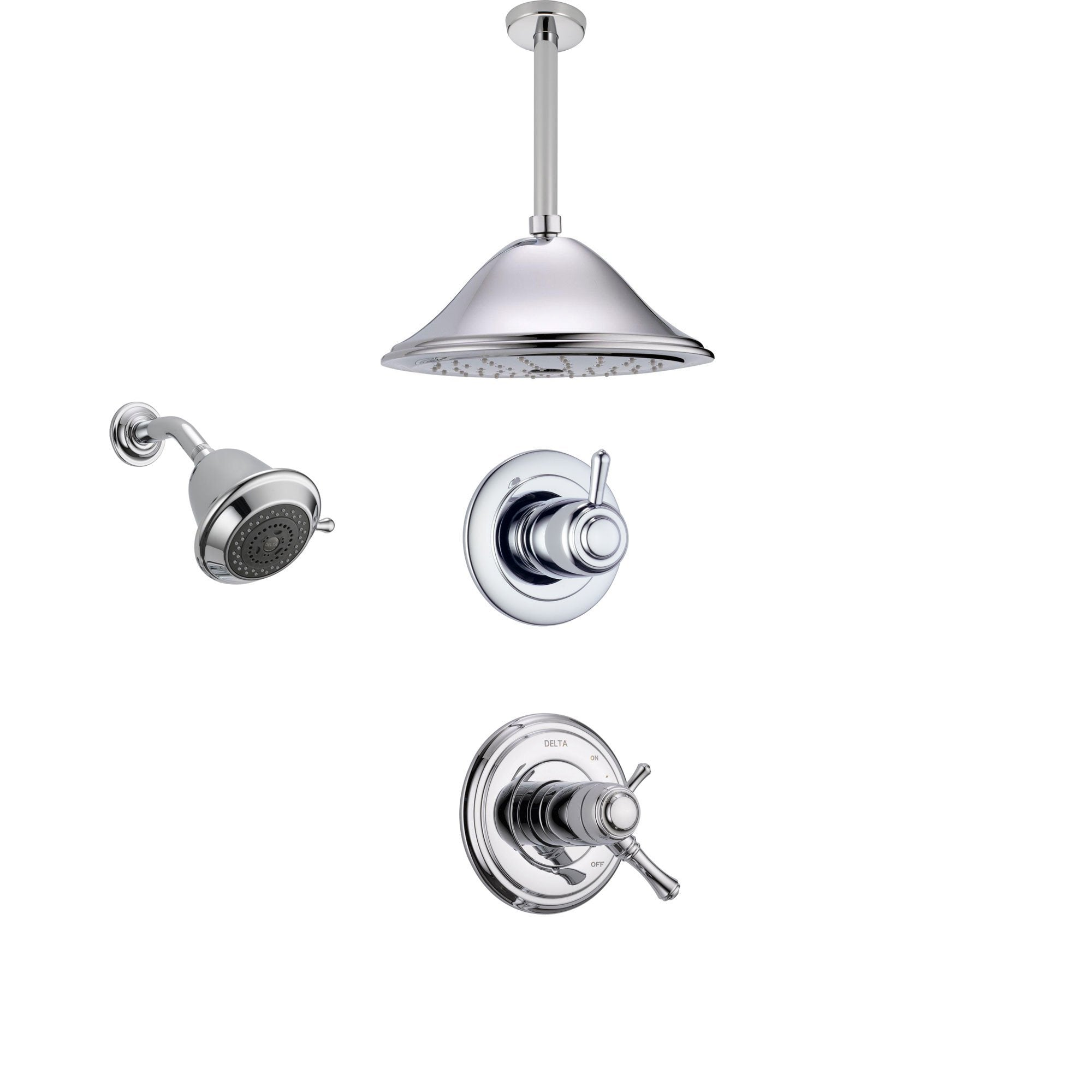 Delta Cassidy Chrome Shower System with Thermostatic Shower Handle, 3-setting Diverter, Large Ceiling Mount Rain Showerhead, and Wall Mount Showerhead SS17T9783