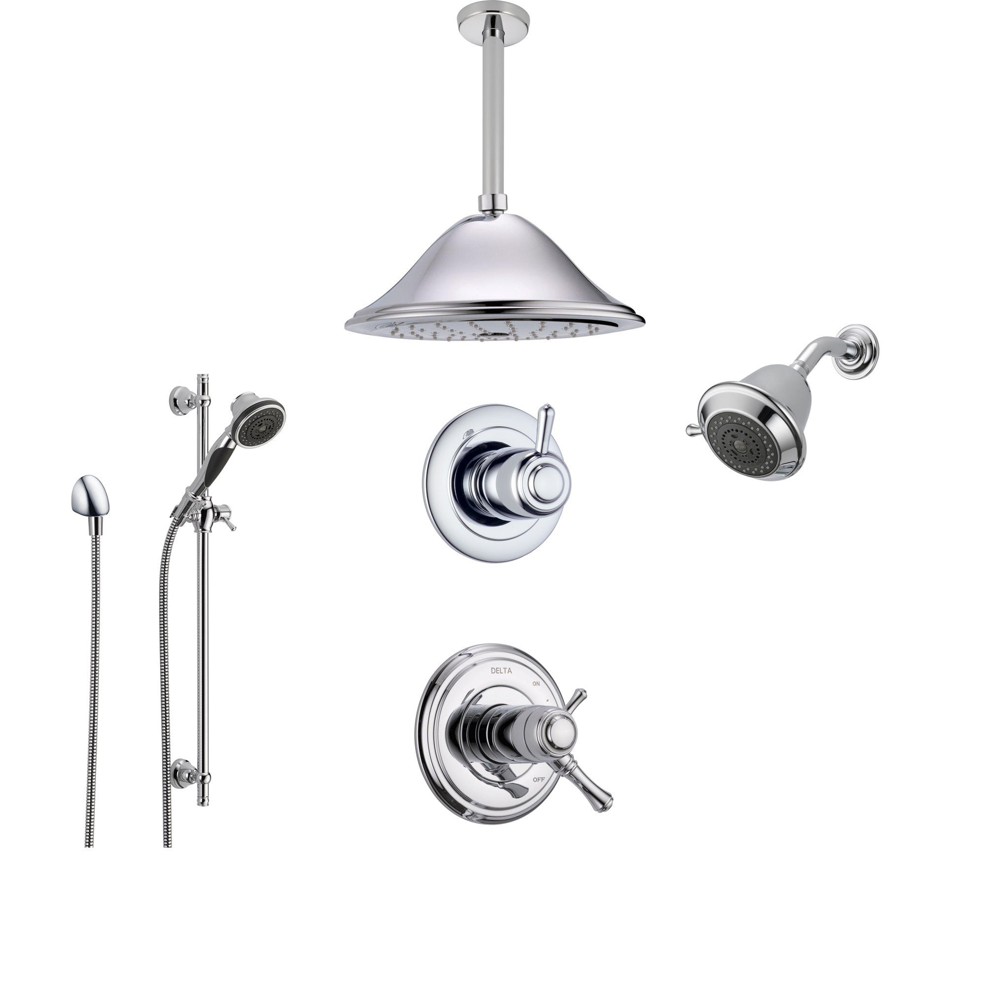 Delta Cassidy Chrome Shower System With Thermostatic Shower Handle 6 Setting Diverter Large Rain Ceiling Mount Showerhead Wall Mount Showerhead
