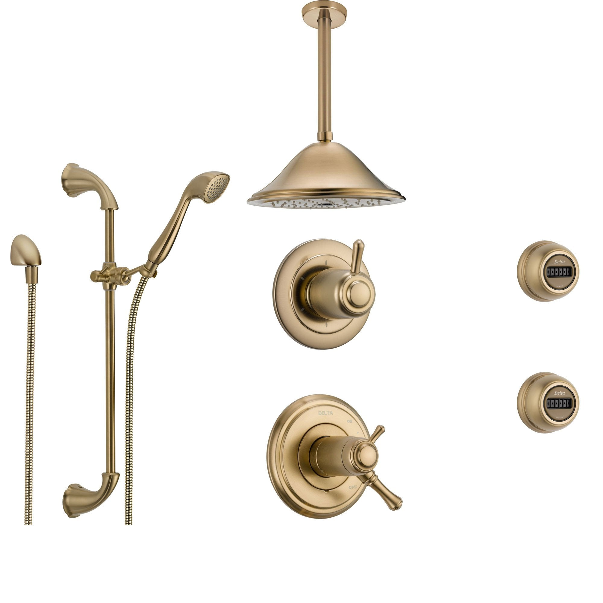 Delta Cassidy Champagne Bronze Shower System with Thermostatic Shower Handle, 6-setting Diverter, Ceiling Mount Large Rain Showerhead, Handheld Spray, and 2 Body Sprays SS17T9795CZ