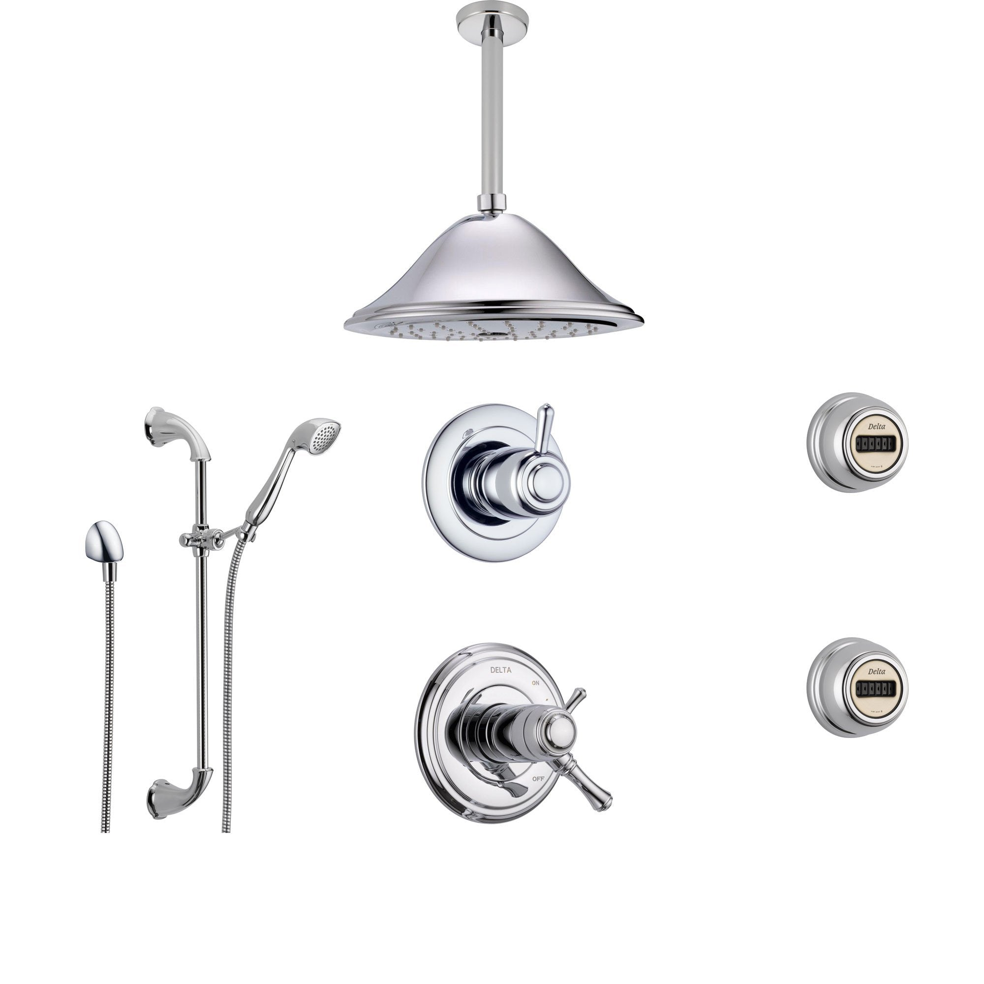 Delta Cassidy Chrome Shower System with Thermostatic Shower Handle, 6-setting Diverter, Large Ceiling Mount Rain Showerhead, Handheld Shower, and 2 Body Sprays SS17T9795