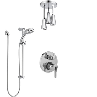 Delta Trinsic Chrome Finish Shower System with Integrated Diverter, Ceiling Mount Showerhead, and Temp2O Hand Shower with Slidebar SS2485912