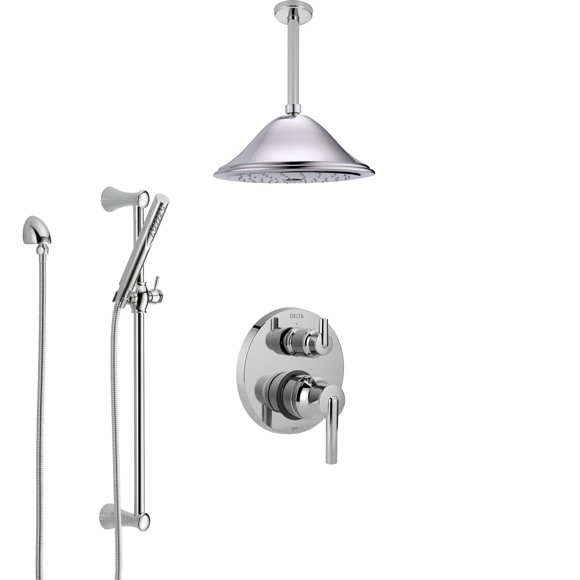 Delta Trinsic Chrome Finish Shower System with Control Handle, Integrated Diverter, Ceiling Mount Showerhead, and Hand Shower with Slidebar SS248592