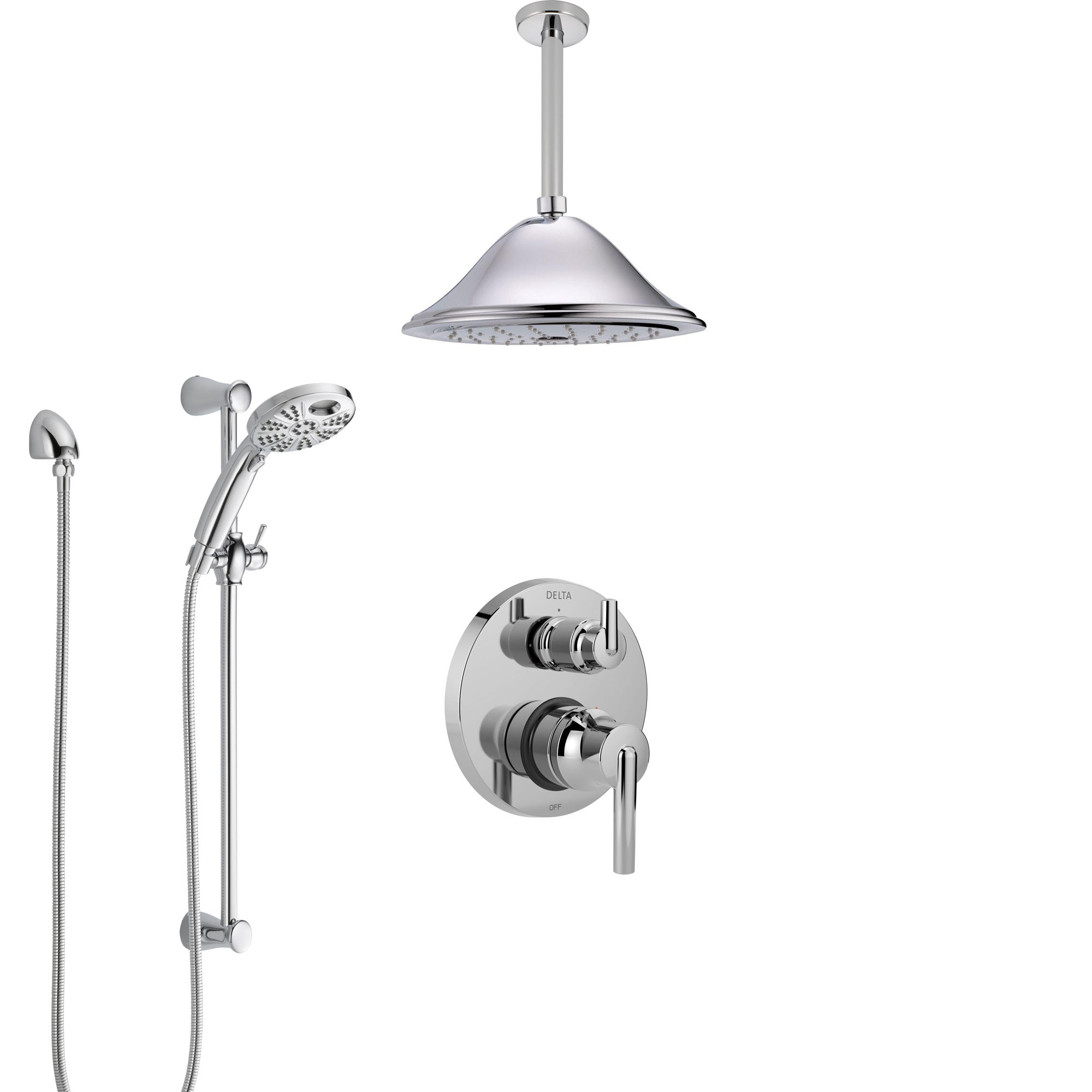 Delta Trinsic Chrome Finish Shower System with Integrated Diverter, Ceiling Mount Showerhead, and Temp2O Hand Shower with Slidebar SS248593