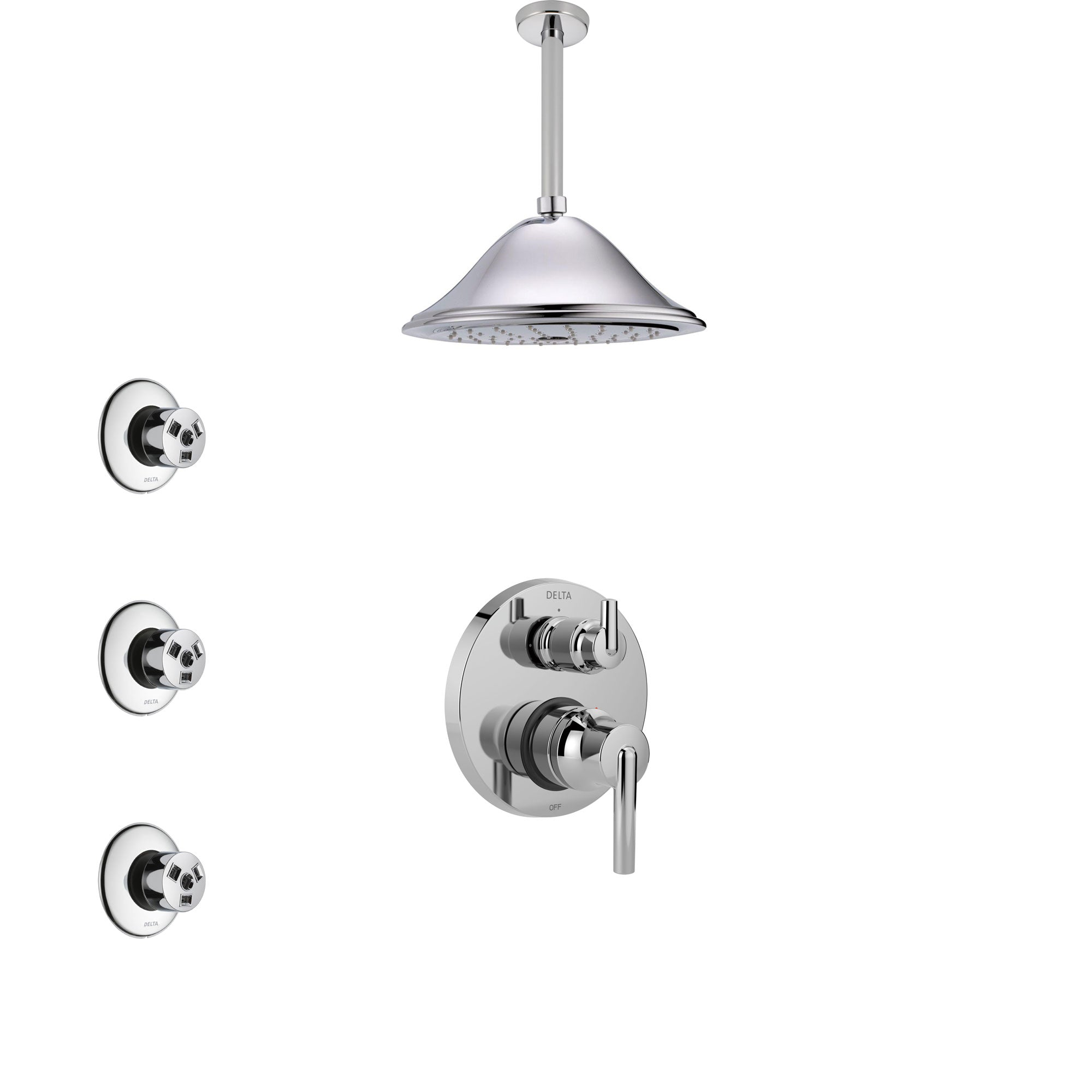 Delta Trinsic Chrome Finish Shower System with Control Handle, Integrated 3-Setting Diverter, Ceiling Mount Showerhead, and 3 Body Sprays SS248594