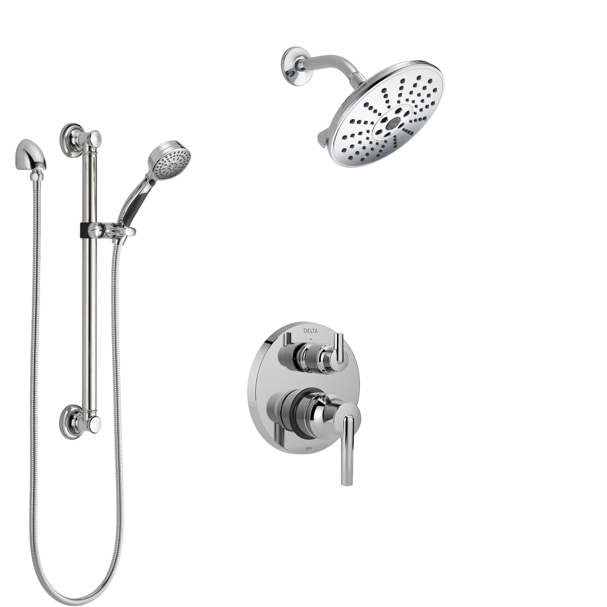 Delta Trinsic Chrome Finish Shower System with Control Handle, Integrated 3-Setting Diverter, Showerhead, and Hand Shower with Grab Bar SS248596