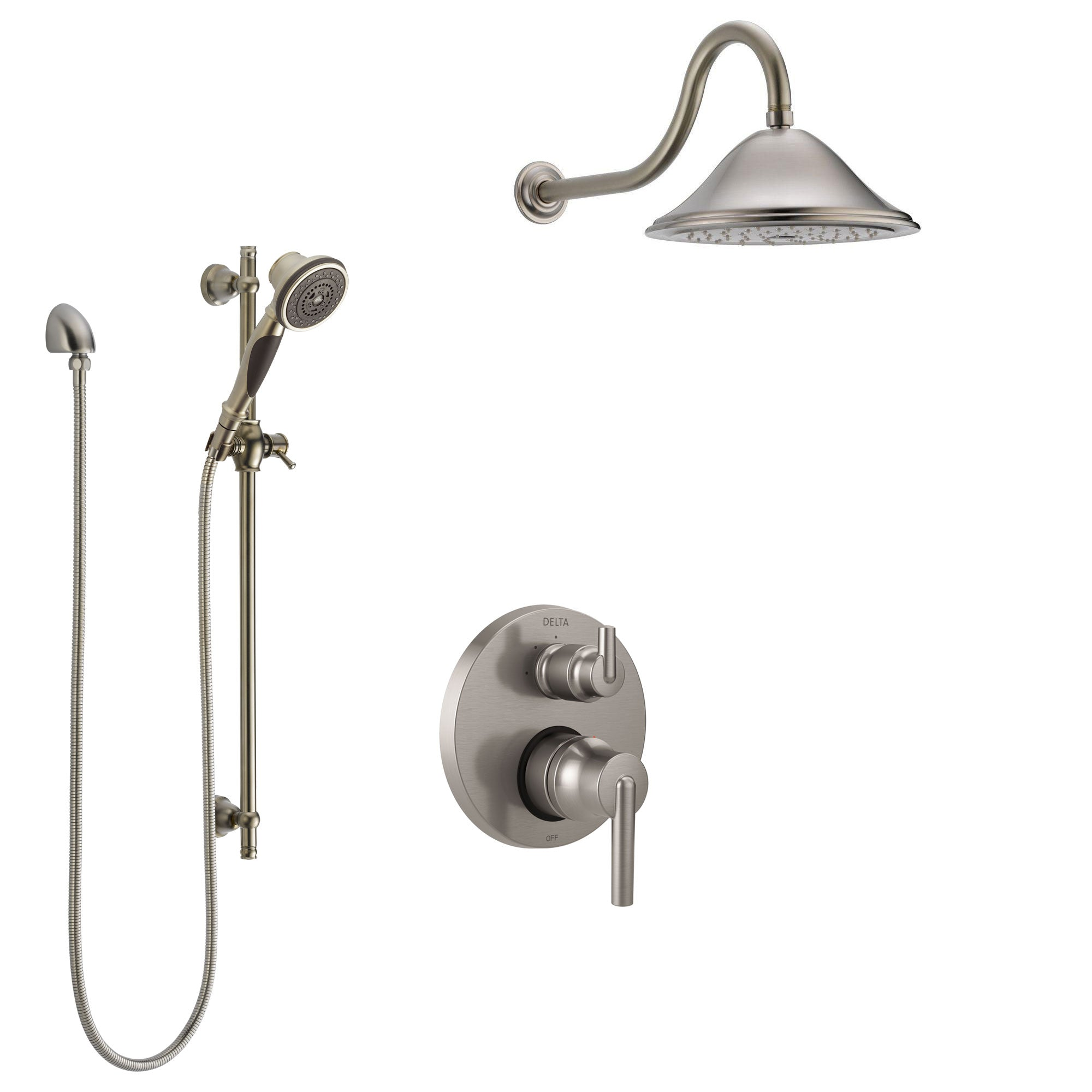 Delta Trinsic Stainless Steel Finish Shower System with Control Handle, Integrated Diverter, Showerhead, and Hand Shower with Slidebar SS24859SS11