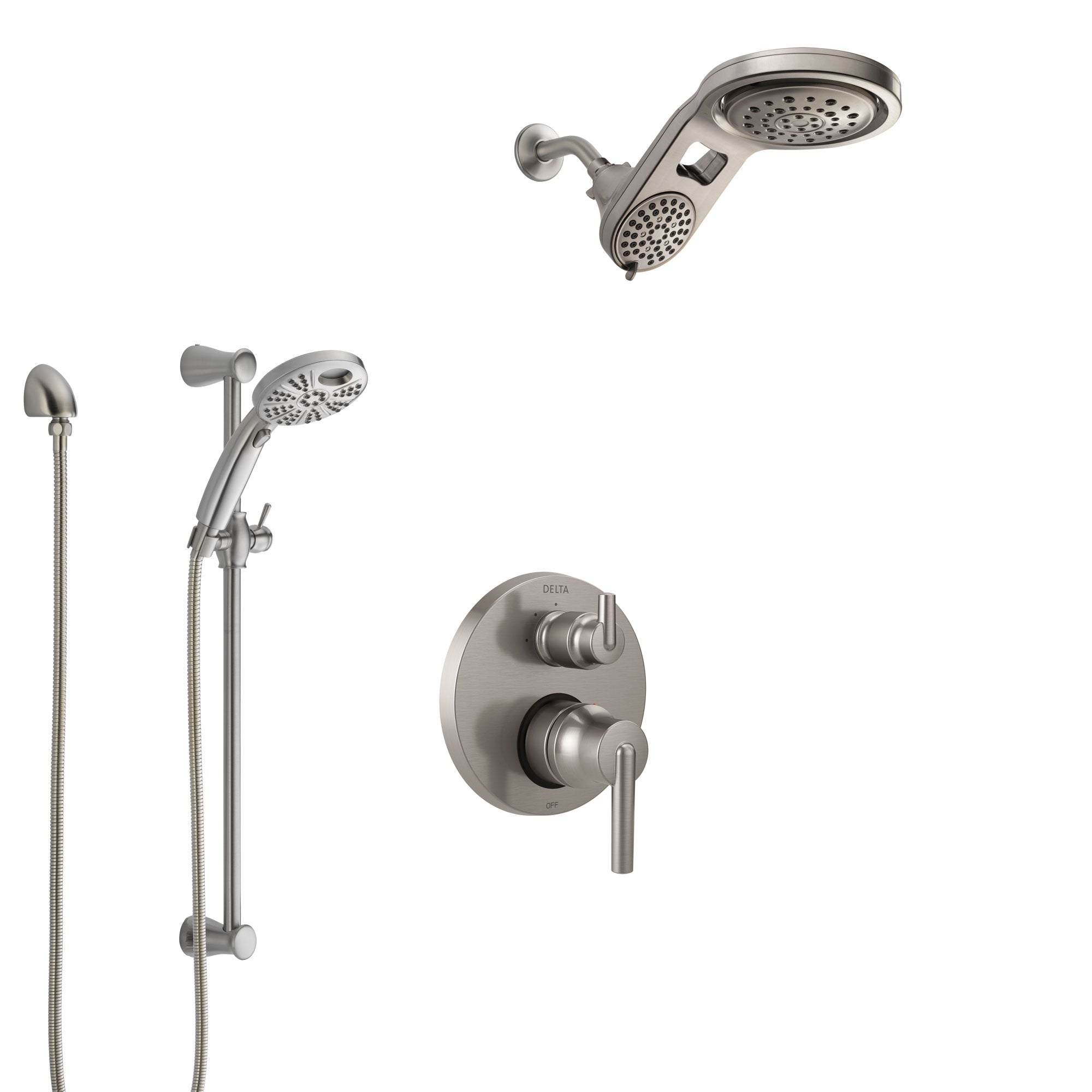 Delta Trinsic Stainless Steel Finish Shower System with Control Handle, Integrated Diverter, Dual Showerhead, and Temp2O Hand Shower SS24859SS4