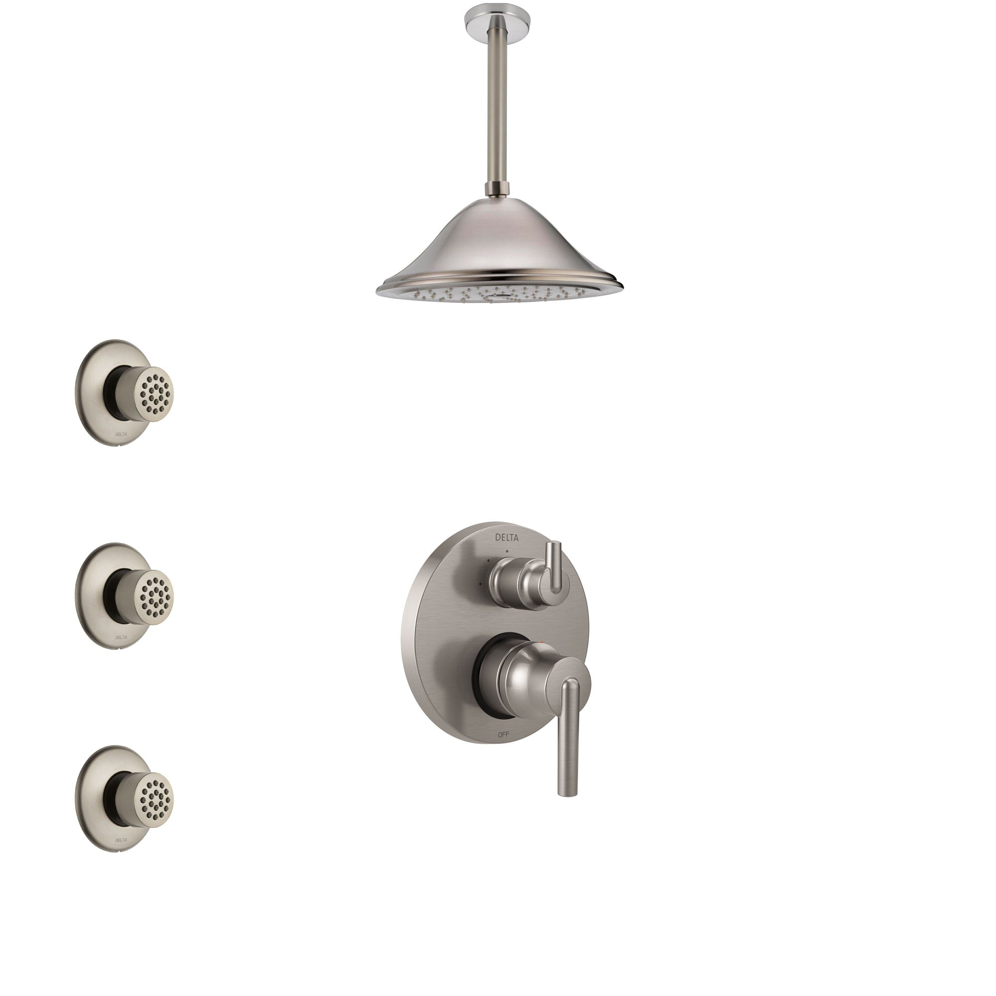 Delta Trinsic Stainless Steel Finish Shower System with Control Handle, Integrated Diverter, Ceiling Mount Showerhead, and 3 Body Sprays SS24859SS6