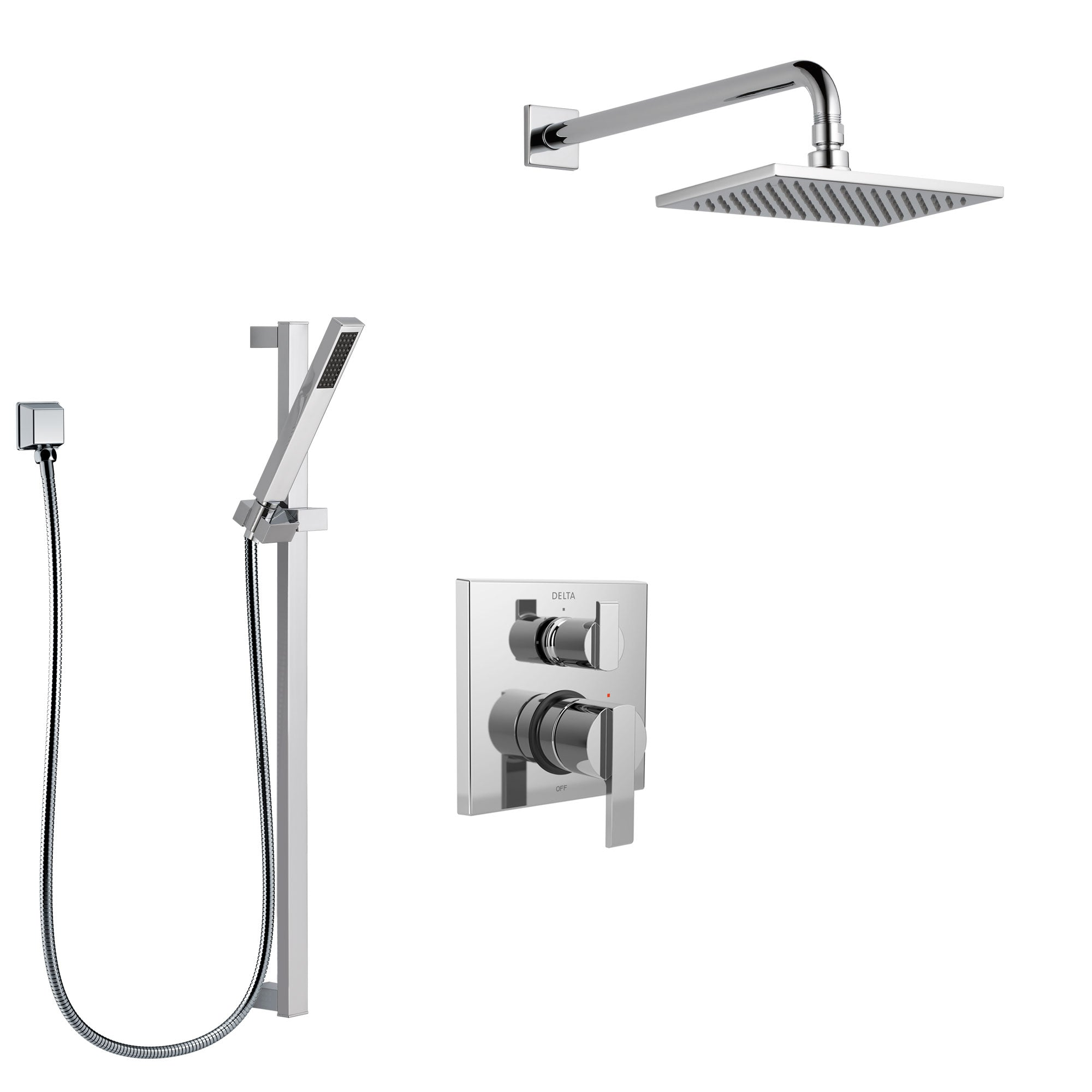 Delta Ara Chrome Finish Shower System with Control Handle, Integrated 3-Setting Diverter, Showerhead, and Hand Shower with Slidebar SS2486712