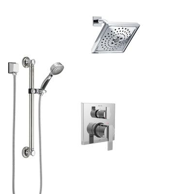 Delta Ara Chrome Finish Shower System with Control Handle, Integrated 3-Setting Diverter, Showerhead, and Hand Shower with Grab Bar SS248671