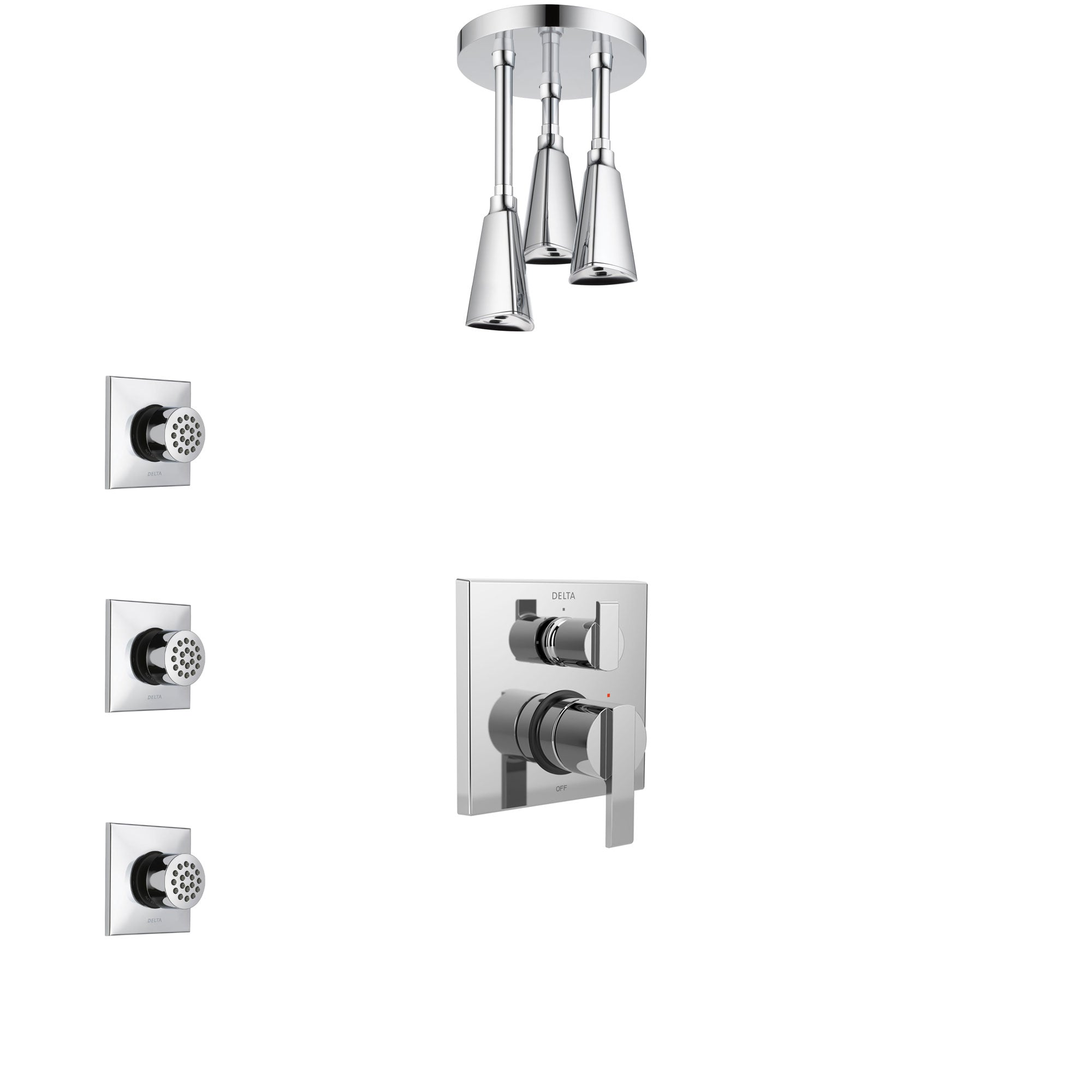Delta Ara Chrome Finish Shower System with Control Handle, Integrated 3-Setting Diverter, Ceiling Mount Showerhead, and 3 Body Sprays SS248674