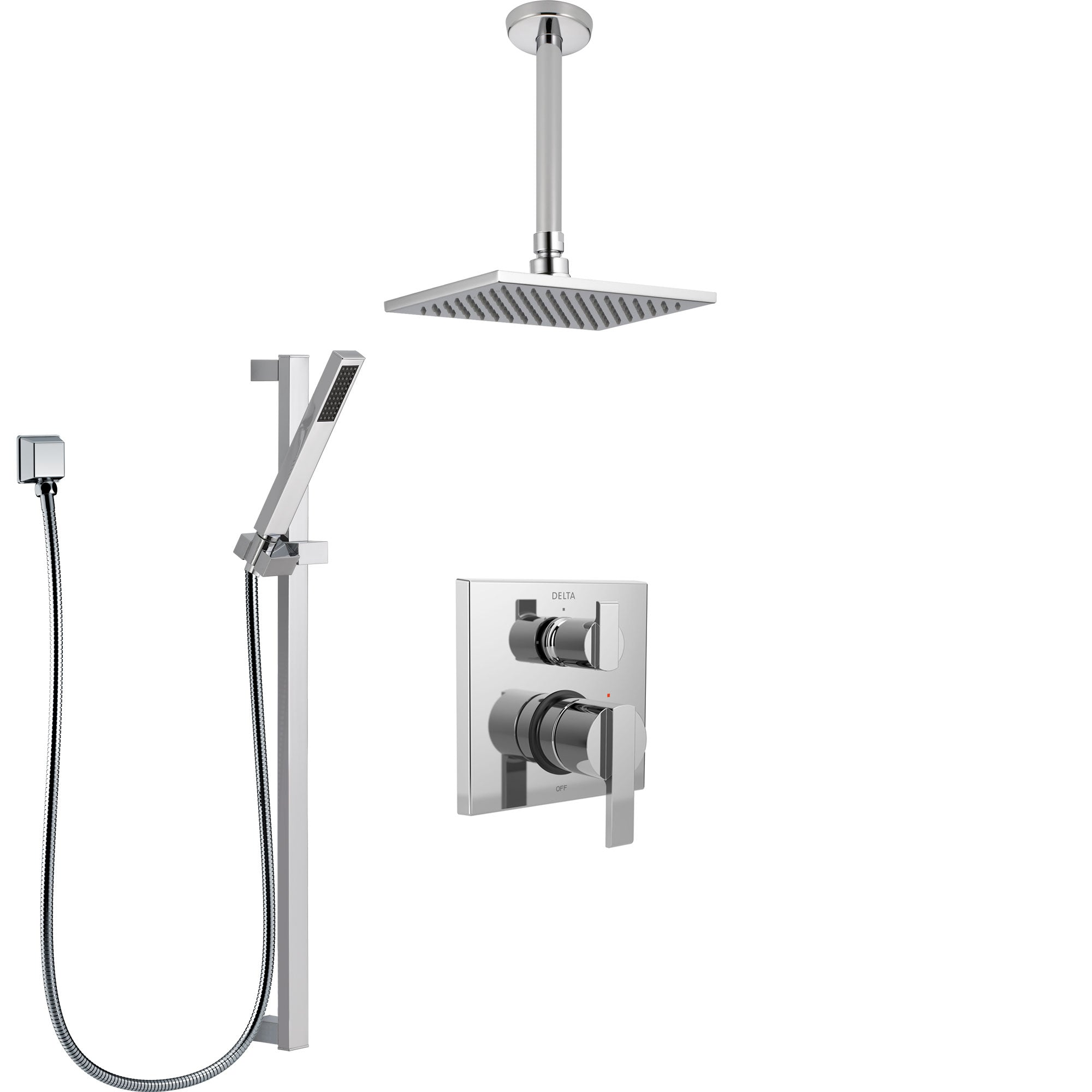 Delta Ara Chrome Finish Shower System With Control Handle Integrated Diverter Ceiling Mount Showerhead And Hand Shower With Slidebar Ss248677
