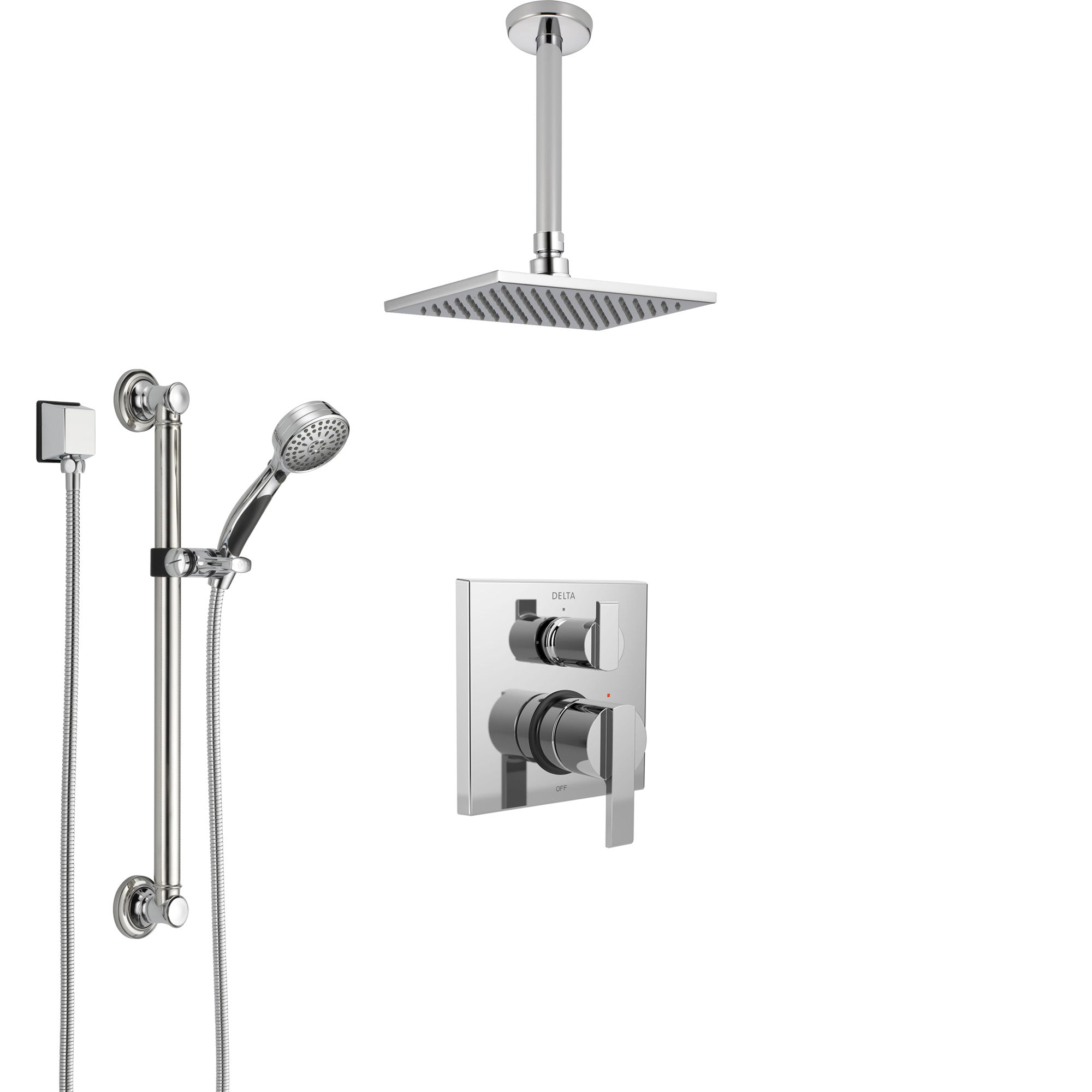 Delta Ara Chrome Finish Shower System with Control Handle, Integrated Diverter, Ceiling Mount Showerhead, and Hand Shower with Grab Bar SS248679