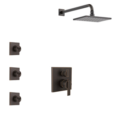Delta Ara Venetian Bronze Finish Shower System with Control Handle, Integrated 3-Setting Diverter, Showerhead, and 3 Body Sprays SS24867RB10