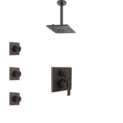Delta Ara Venetian Bronze Shower System with Control Handle, Integrated 3-Setting Diverter, Ceiling Mount Showerhead, and 3 Body Sprays SS24867RB12