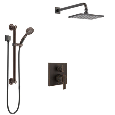 Delta Ara Venetian Bronze Shower System with Control Handle, Integrated 3-Setting Diverter, Showerhead, and Hand Shower with Grab Bar SS24867RB2