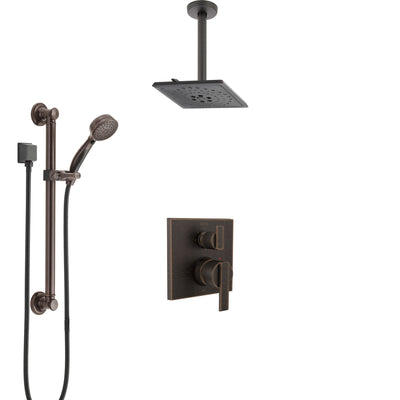 Delta Ara Venetian Bronze Shower System with Control Handle, Integrated Diverter, Ceiling Mount Showerhead, and Hand Shower with Grab Bar SS24867RB4