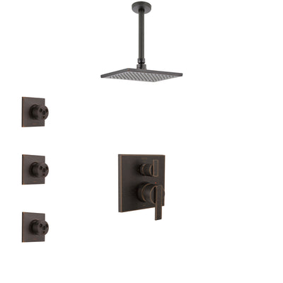Delta Ara Venetian Bronze Shower System with Control Handle, Integrated 3-Setting Diverter, Ceiling Mount Showerhead, and 3 Body Sprays SS24867RB9