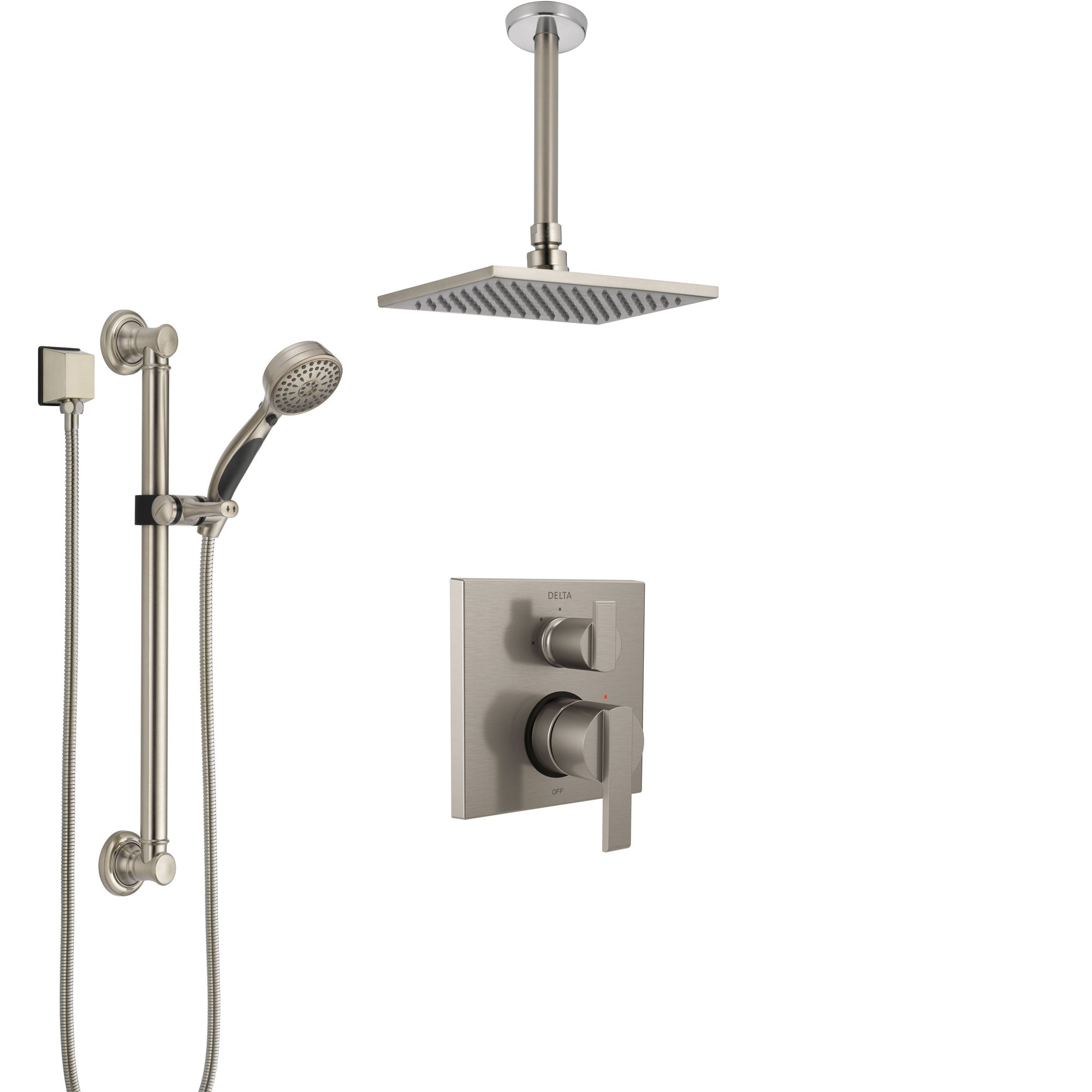 Delta Ara Stainless Steel Finish Shower System with Control Handle, Integrated Diverter, Ceiling Mount Showerhead, and Grab Bar Hand Shower SS24867SS2